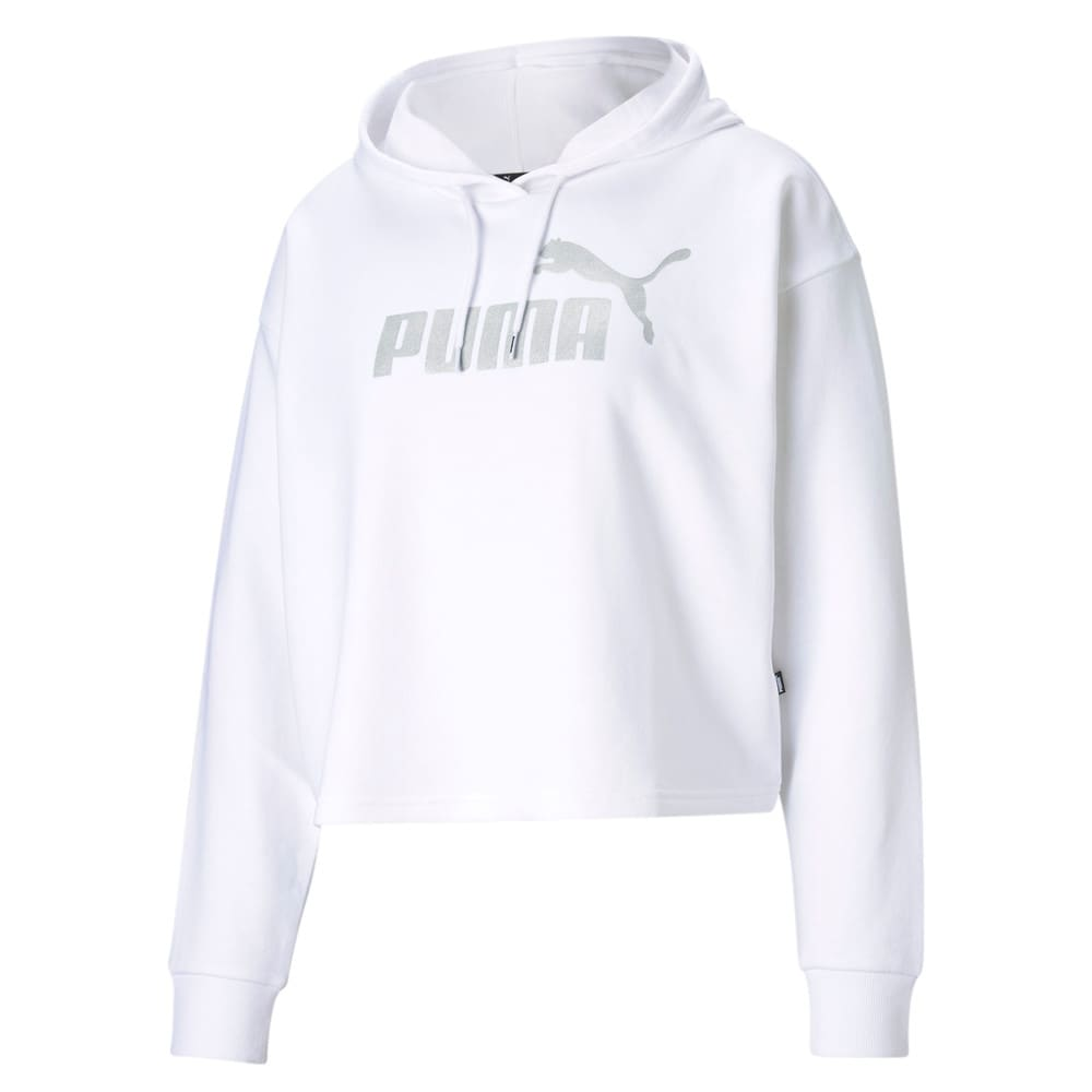 Зображення Puma Толстовка Essentials+ Cropped Metallic Women's Hoodie #1