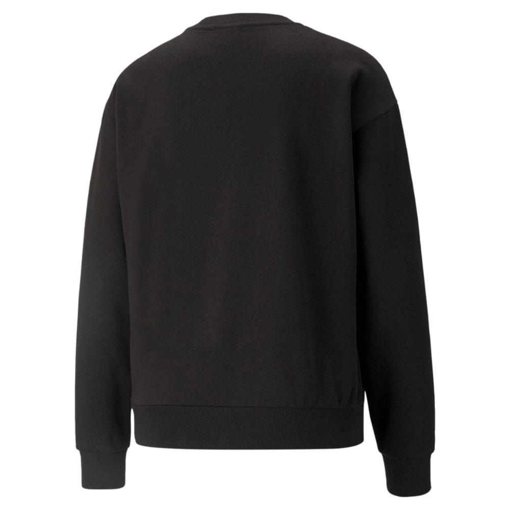 Изображение Puma Толстовка Essentials+ Metallic Logo Crew Neck Women's Sweatshirt #2: Puma Black-GOLD