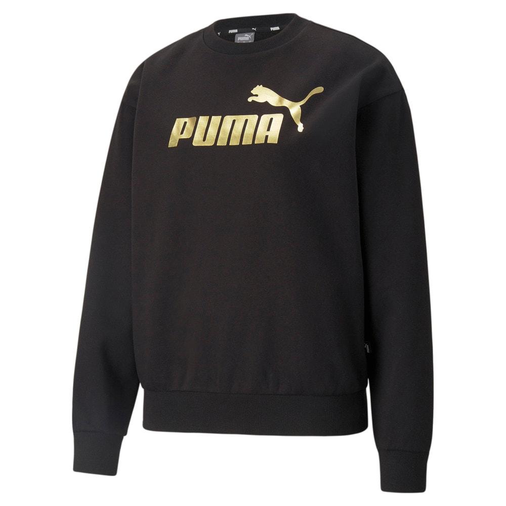 Изображение Puma Толстовка Essentials+ Metallic Logo Crew Neck Women's Sweatshirt #1: Puma Black-GOLD