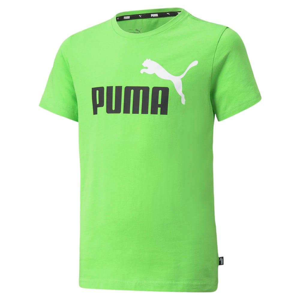 Изображение Puma Детская футболка Essentials+ Two-Tone Logo Youth Tee #1: green flash