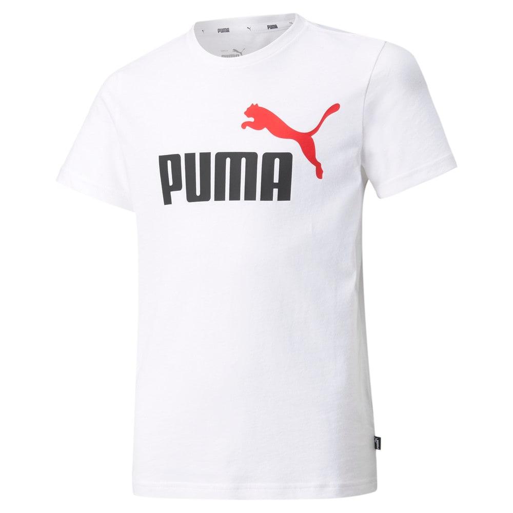 Изображение Puma Детская футболка Essentials+ Two-Tone Logo Youth Tee #1: Puma White-High Risk Red