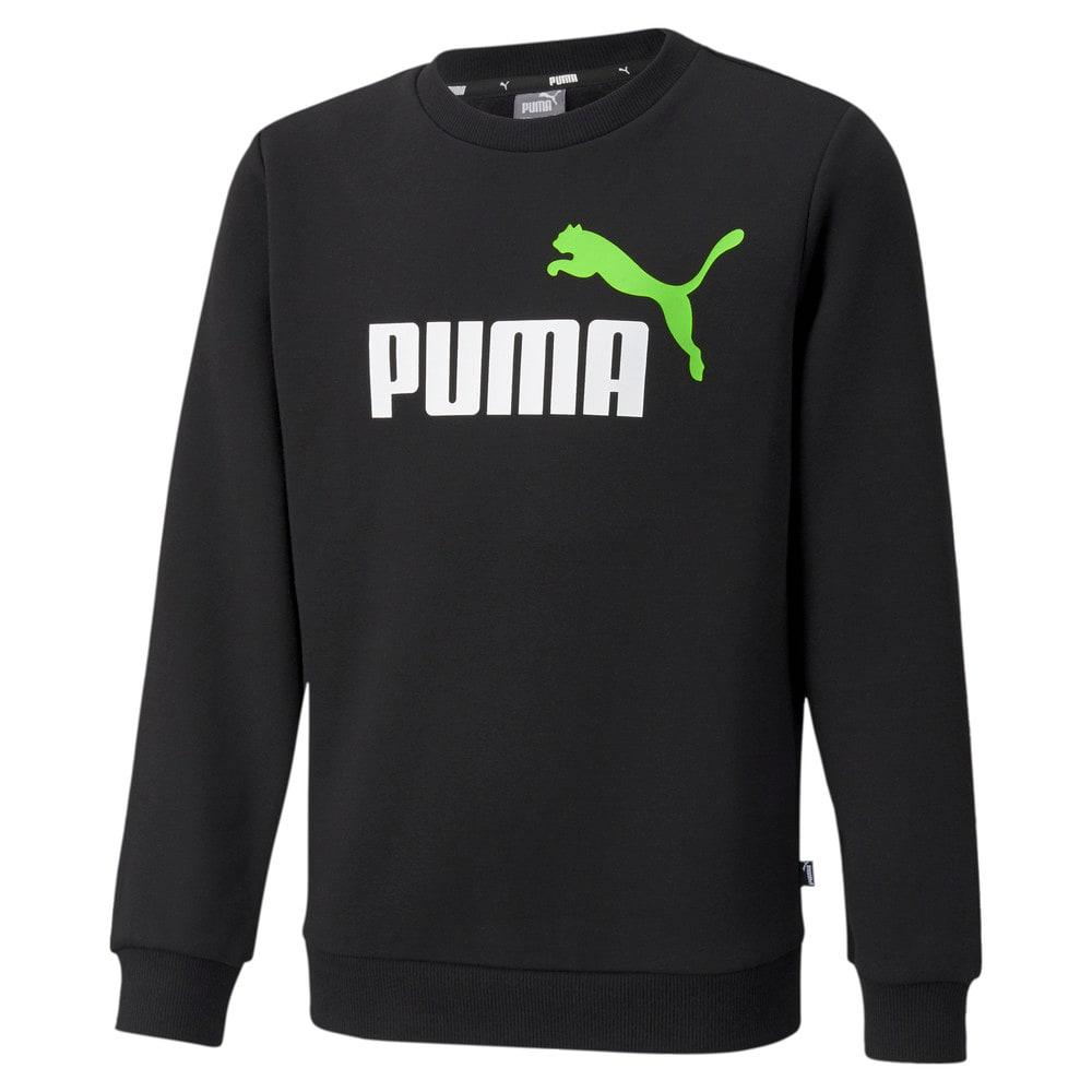 Зображення Puma Дитяча толстовка Essentials+ Two-Tone Big Logo Crew Neck Youth Sweater #1: Puma Black-Green Flash