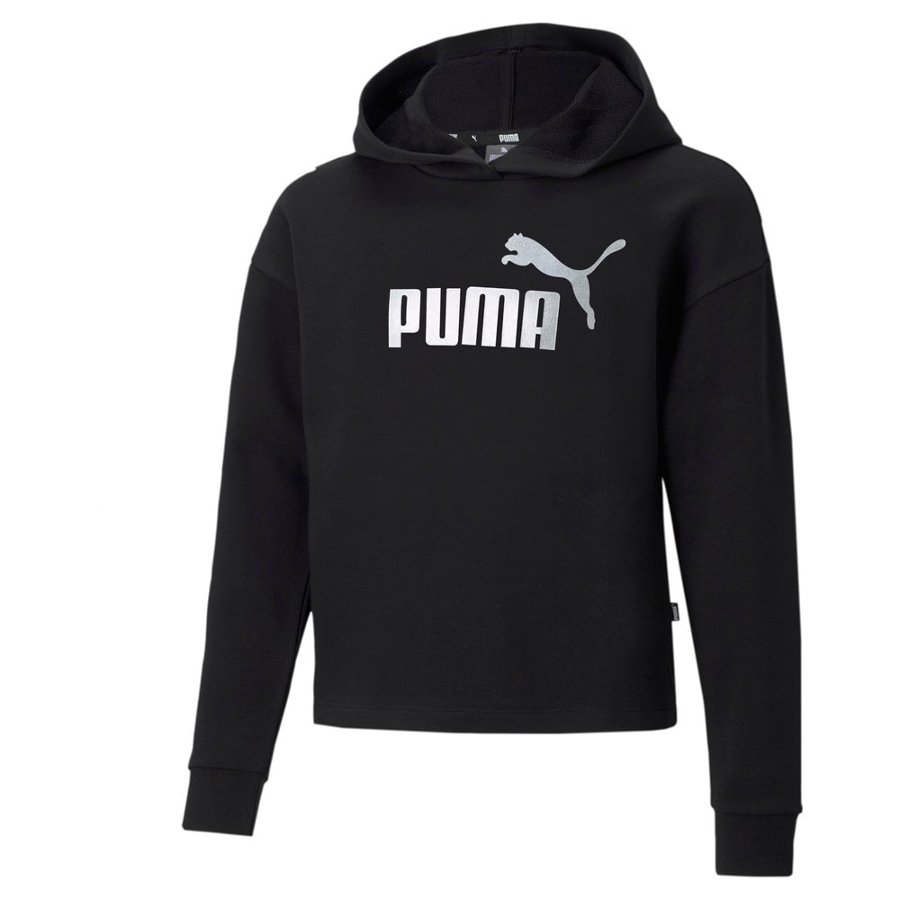 Изображение Puma Детская толстовка Essentials+ Logo Cropped Youth Hoodie #1