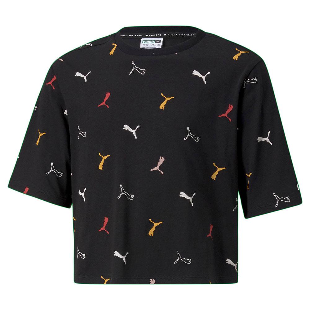 Изображение Puma Детская футболка Classics Graphics Youth Tee #1: puma black-AOP