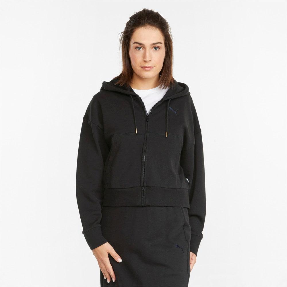 Imagen PUMA Chaqueta de felpa francesa con capucha y cierre completo para mujer HER #1