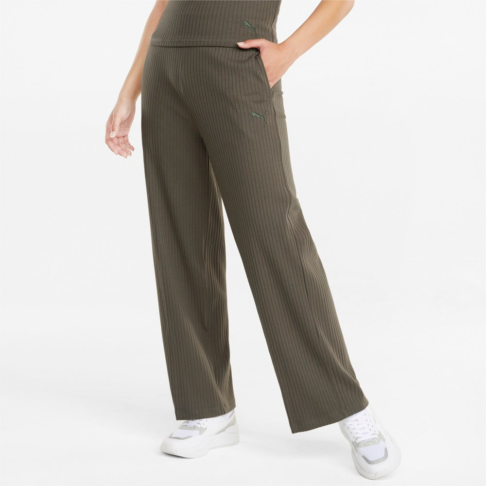 Image Puma HER Ribbed Wide Women's Pants #1