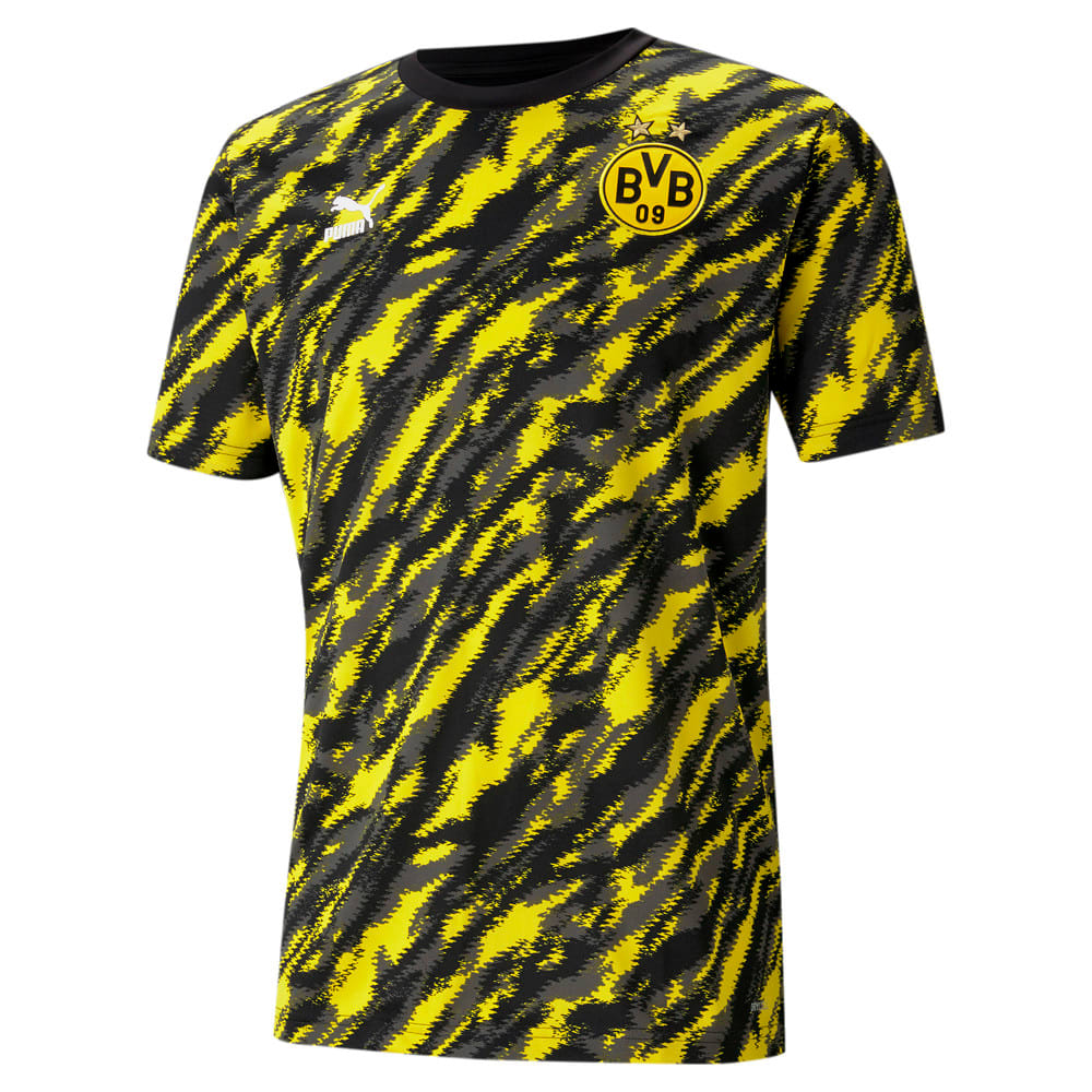 Изображение Puma Футболка BVB Iconic MCS Graphic Men's Football Tee #1: Puma Black-Cyber Yellow