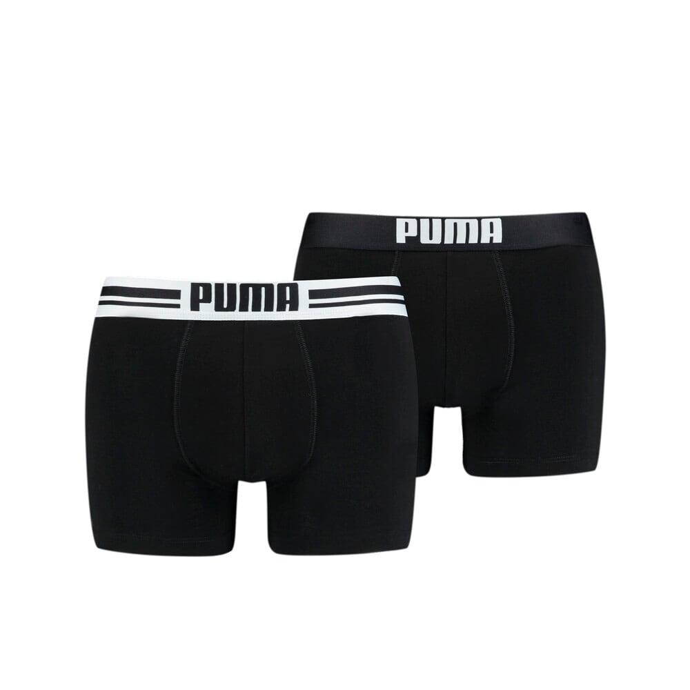 Изображение Puma Мужское нижнее белье Placed Logo Boxer Shorts 2 Pack #1: black