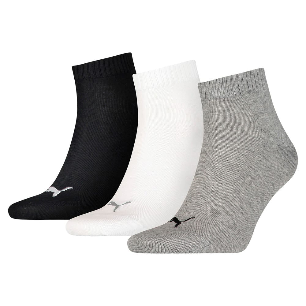 Зображення Puma Шкарпетки PUMA UNISEX QUARTER PLAIN 3P #1: grey/white/black