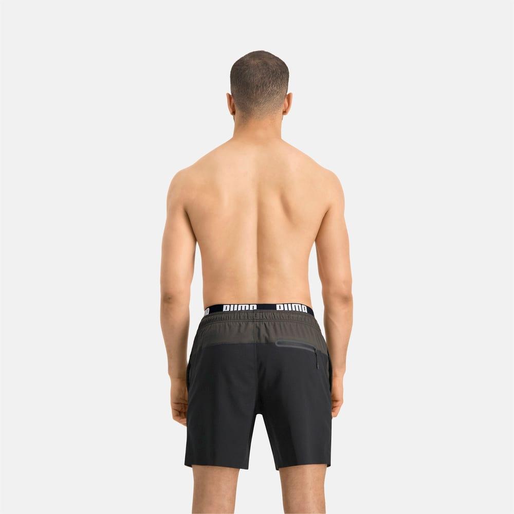 Изображение Puma Шорты для плавания PUMA Swim Men Logo Medium Length Swim Shorts #2: black/grey