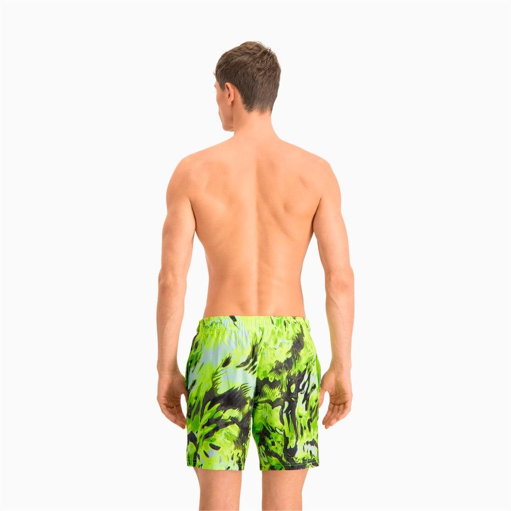 Изображение Puma Шорты для плавания Swim Men's Reflection All-Over-Print Mid Shorts #2: green / yellow