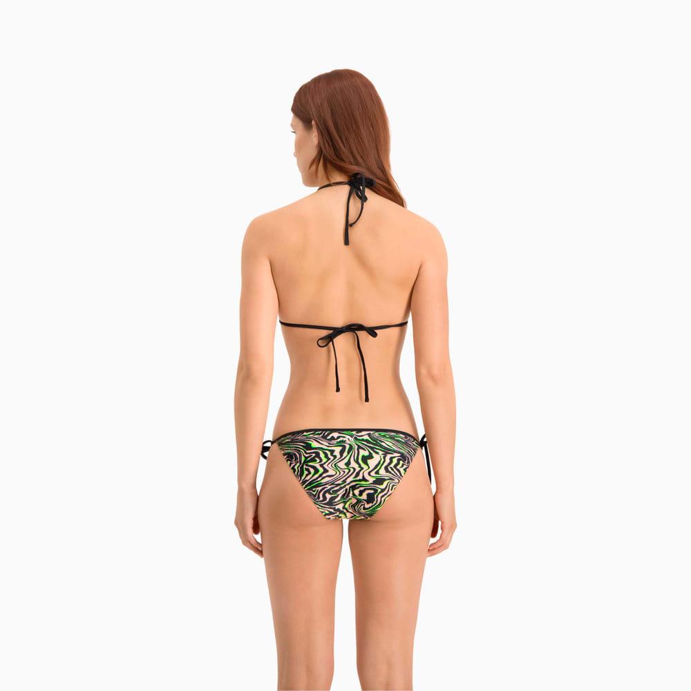 Изображение Puma Лиф для плавания Swim Women's All-Over-Print Triangle Bikini Top #2: black / green