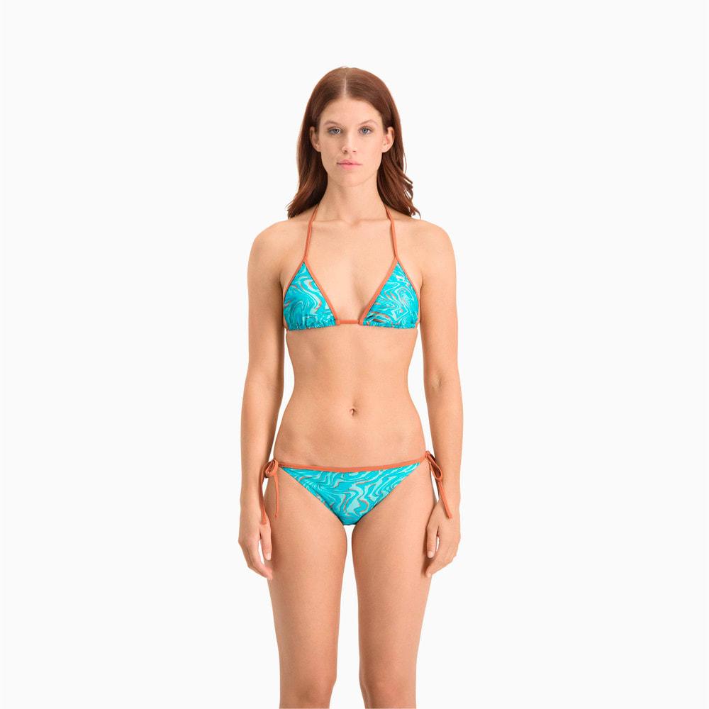 Зображення Puma Топ Swim Women's All-Over-Print Triangle Bikini Top #1: brown / blue