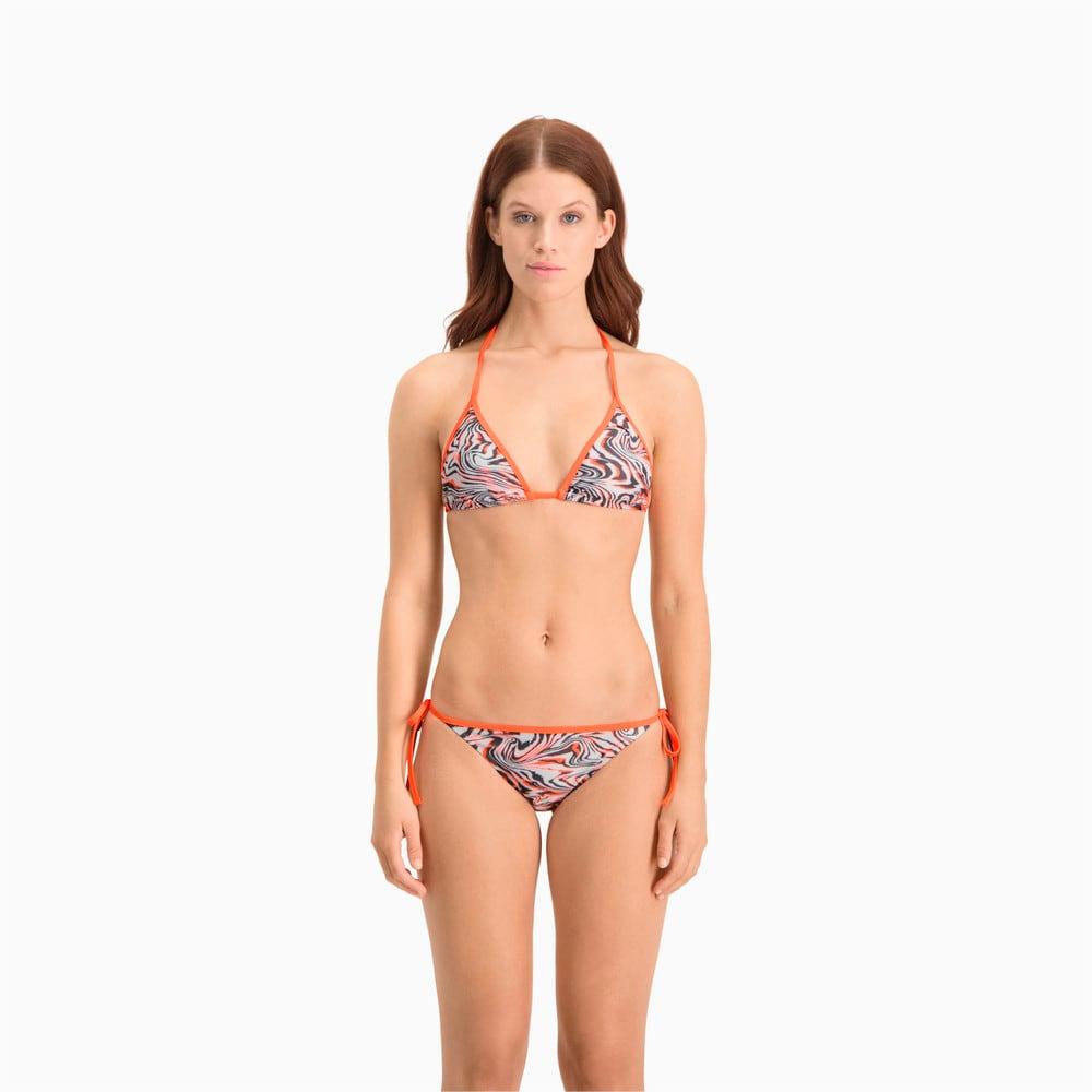 Зображення Puma Топ Swim Women's All-Over-Print Triangle Bikini Top #1: white / grey