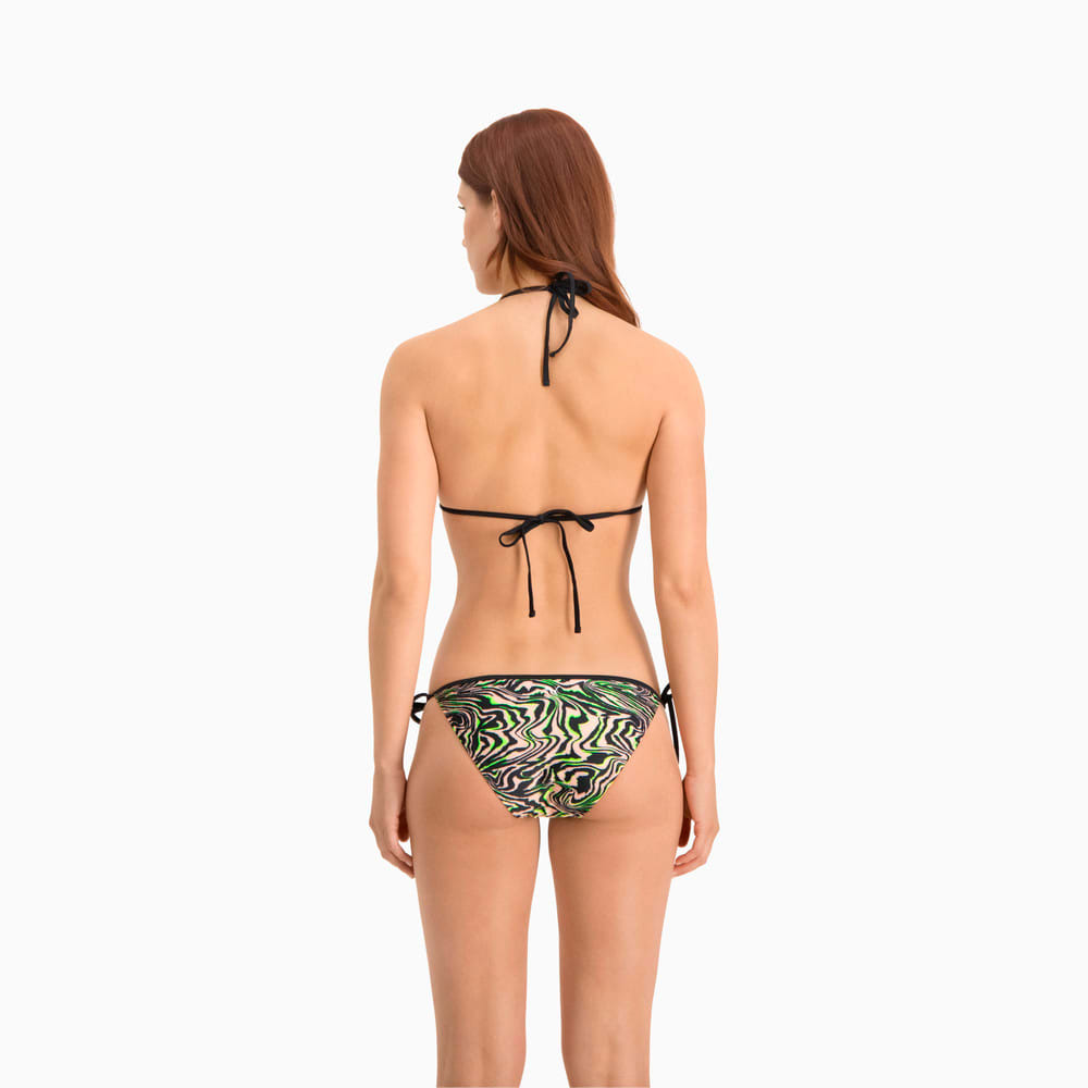 Изображение Puma Плавки Swim Women's All-Over-Print Side Tie Brief #2: black / green