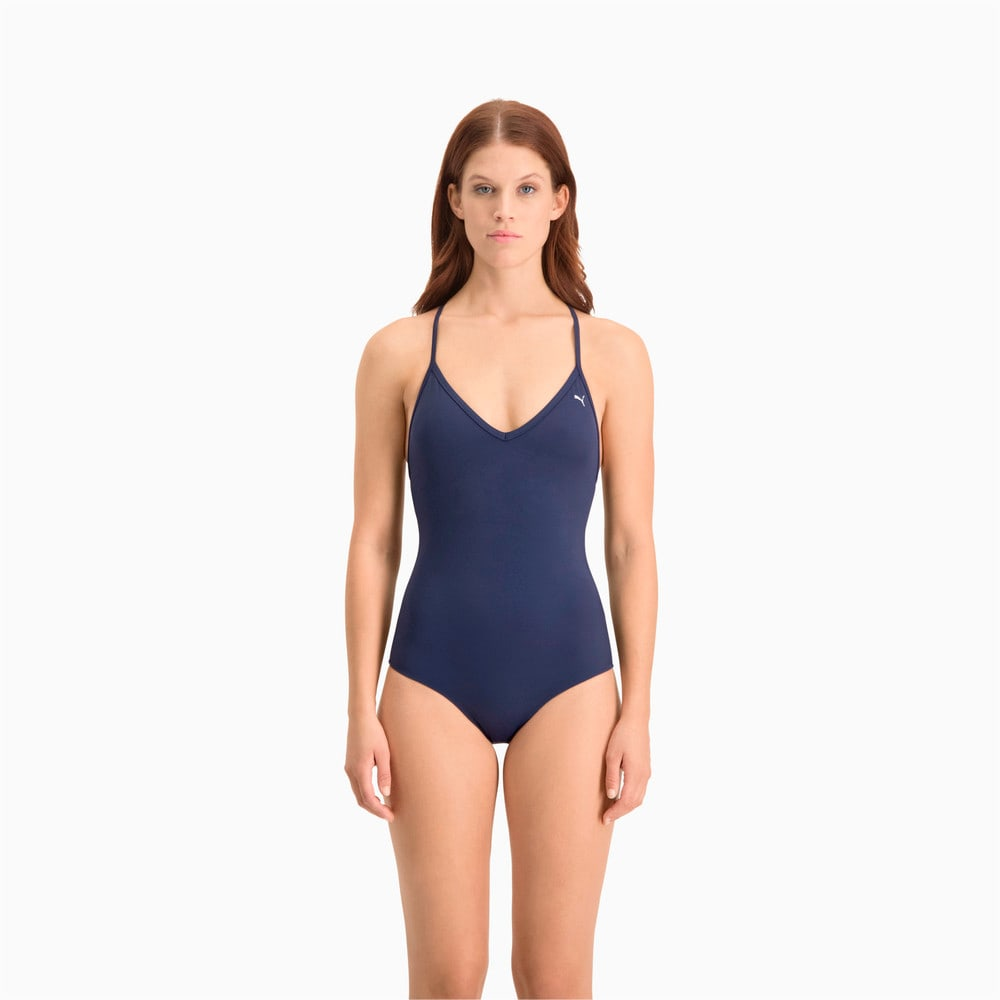 Зображення Puma Купальник Swim Women's V-Neck Cross-back Swimsuit #1: navy