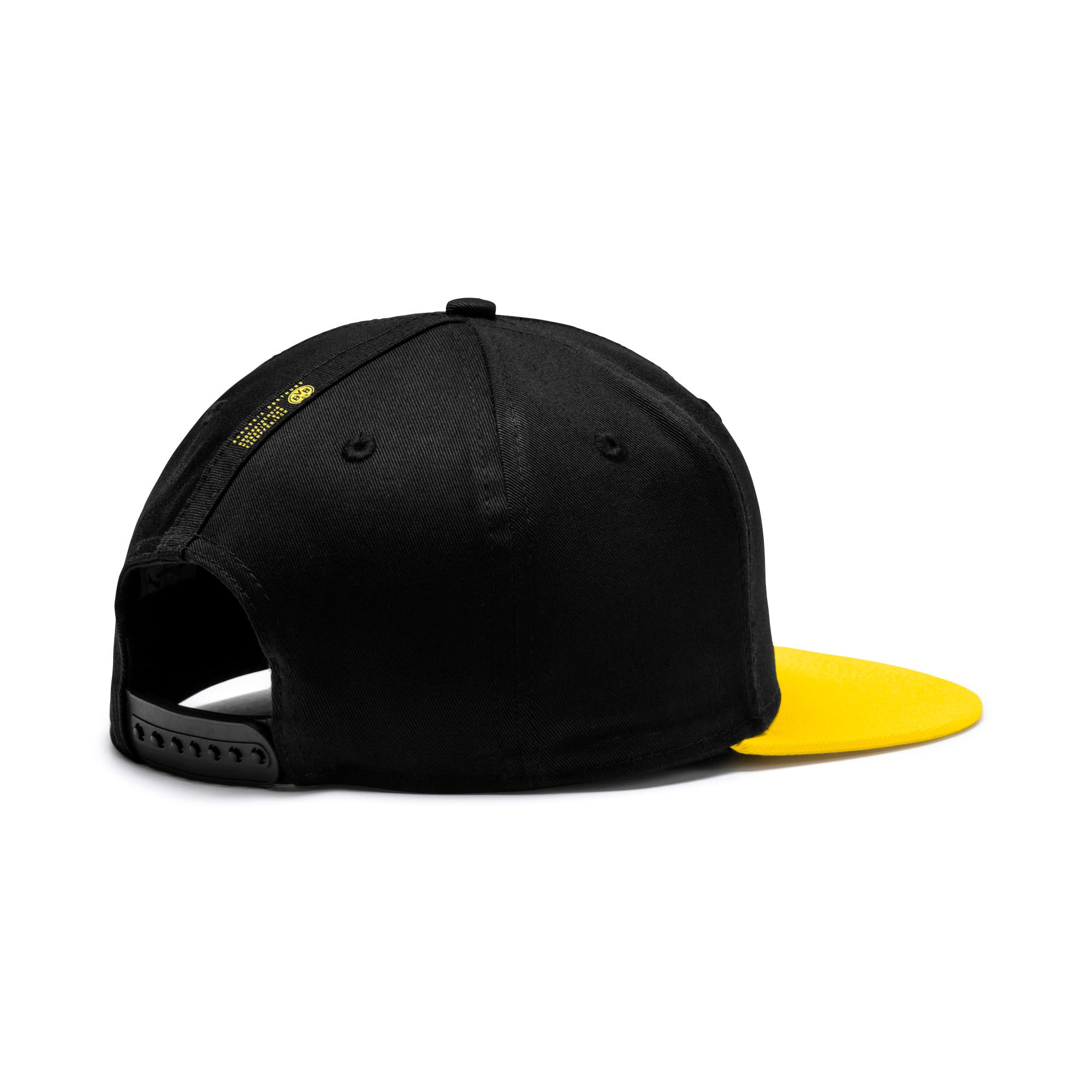 Thumbnail 2 of BVB flatbrim Fan Cap, Puma Black-Cyber Yellow, medium