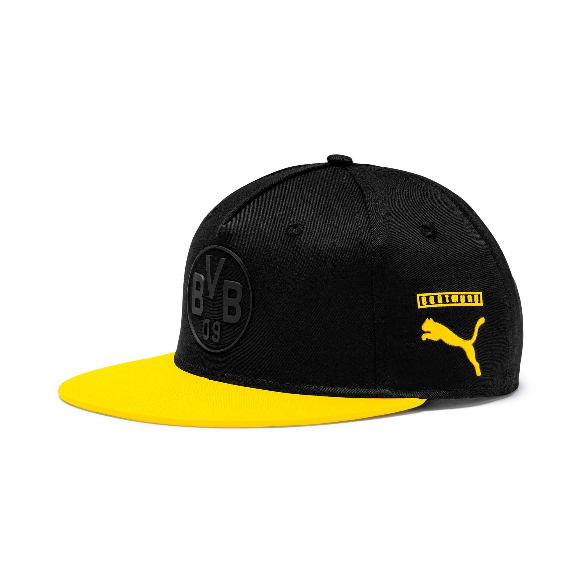 Thumbnail 1 of BVB flatbrim Fan Cap, Puma Black-Cyber Yellow, medium