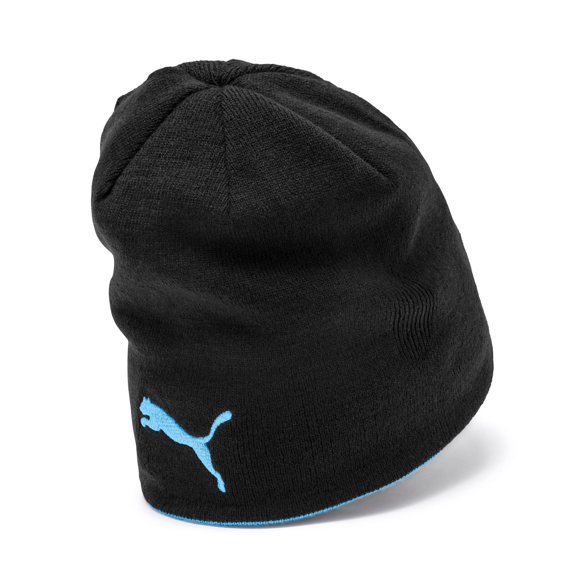 Thumbnail 2 of Man City Reversible Beanie, Puma Black-Team Light Blue, medium