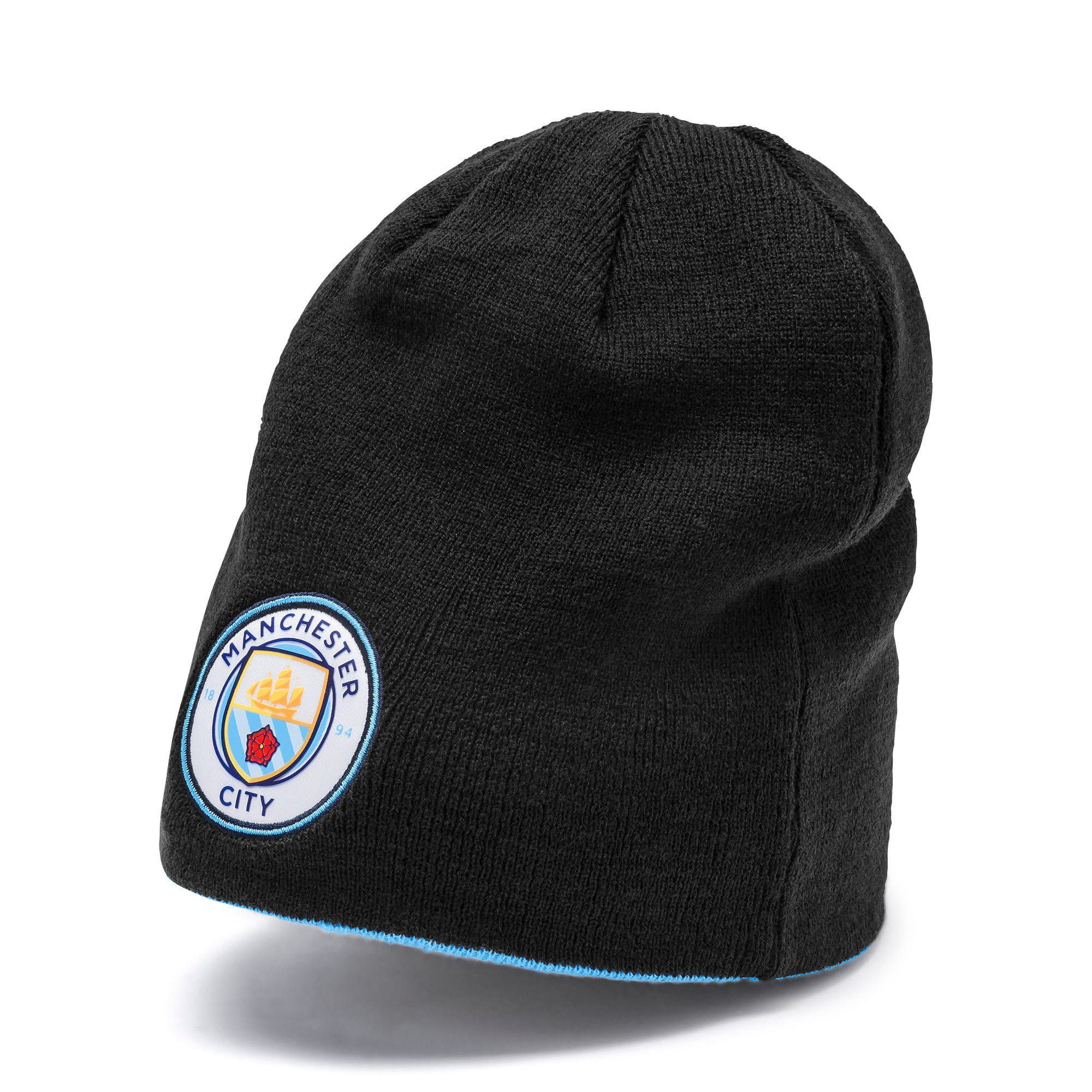 Thumbnail 1 of Man City Reversible Beanie, Puma Black-Team Light Blue, medium