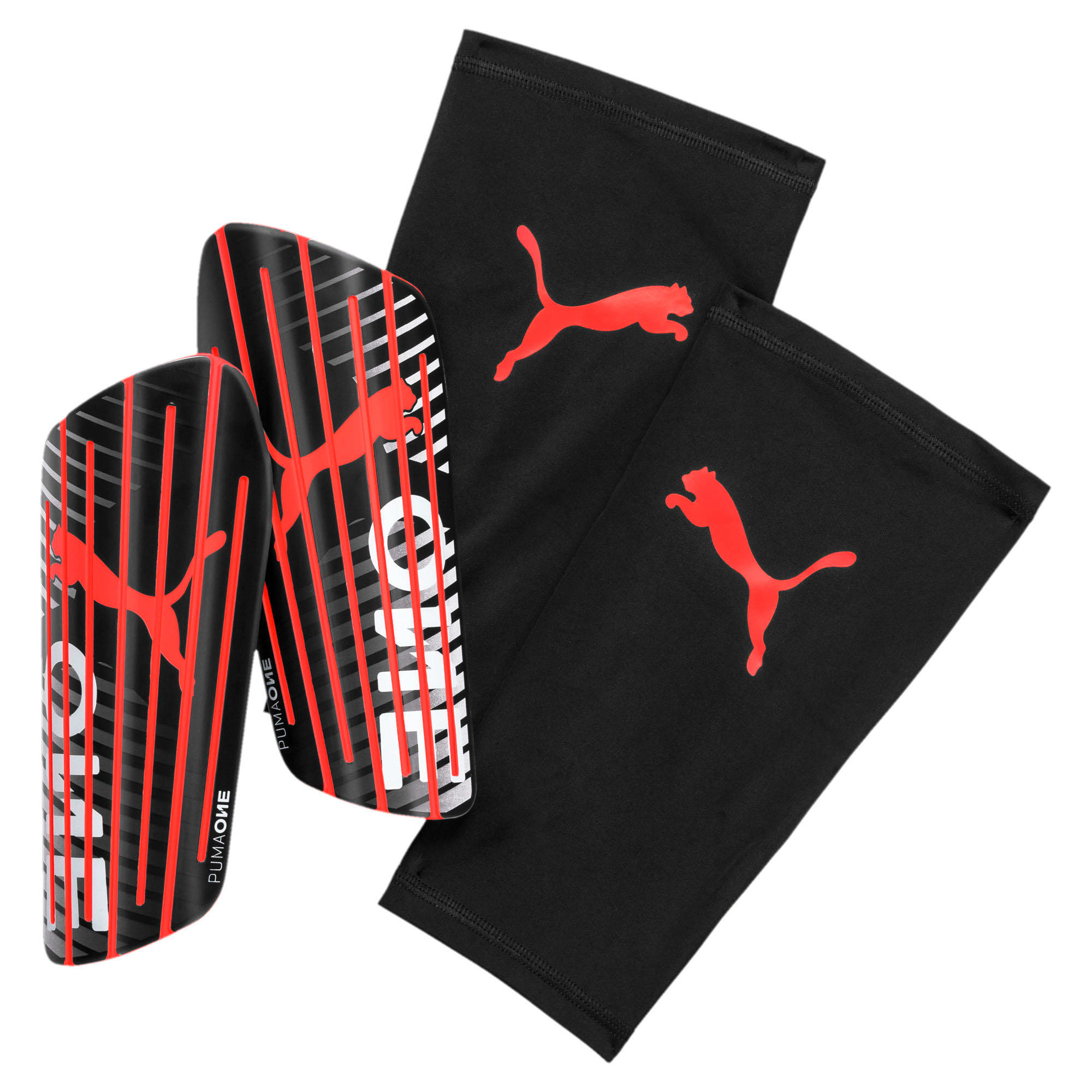 Thumbnail 1 of PUMA ONE 1 Shin Guards, Black-Nrgy Red-White, medium