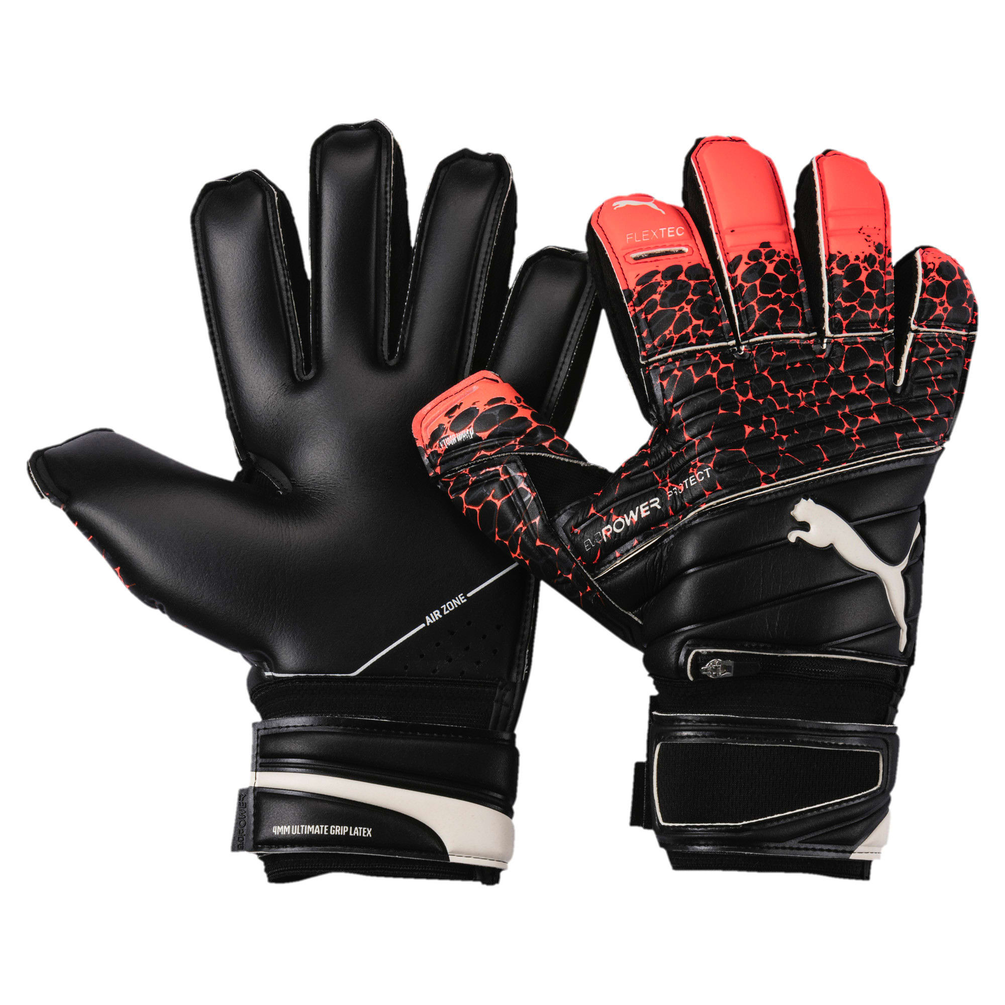 Thumbnail 1 of evoPOWER Protect 1.3 Soccer Goalkeeper Gloves, Fiery Coral-Black-White, medium