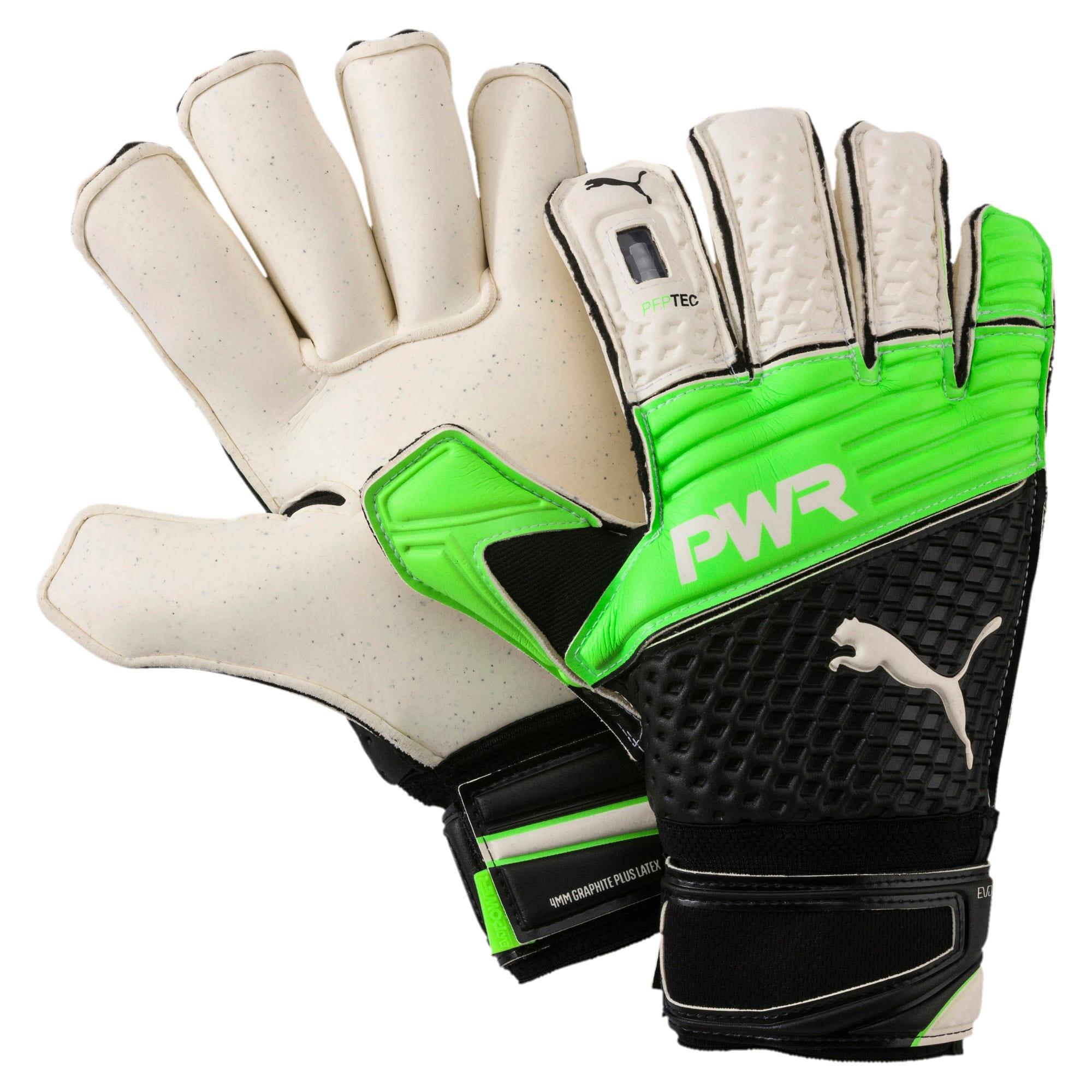 Thumbnail 1 of evoPOWER Protect 2.3 Goalkeeper Gloves, Green Gecko-Black-White, medium