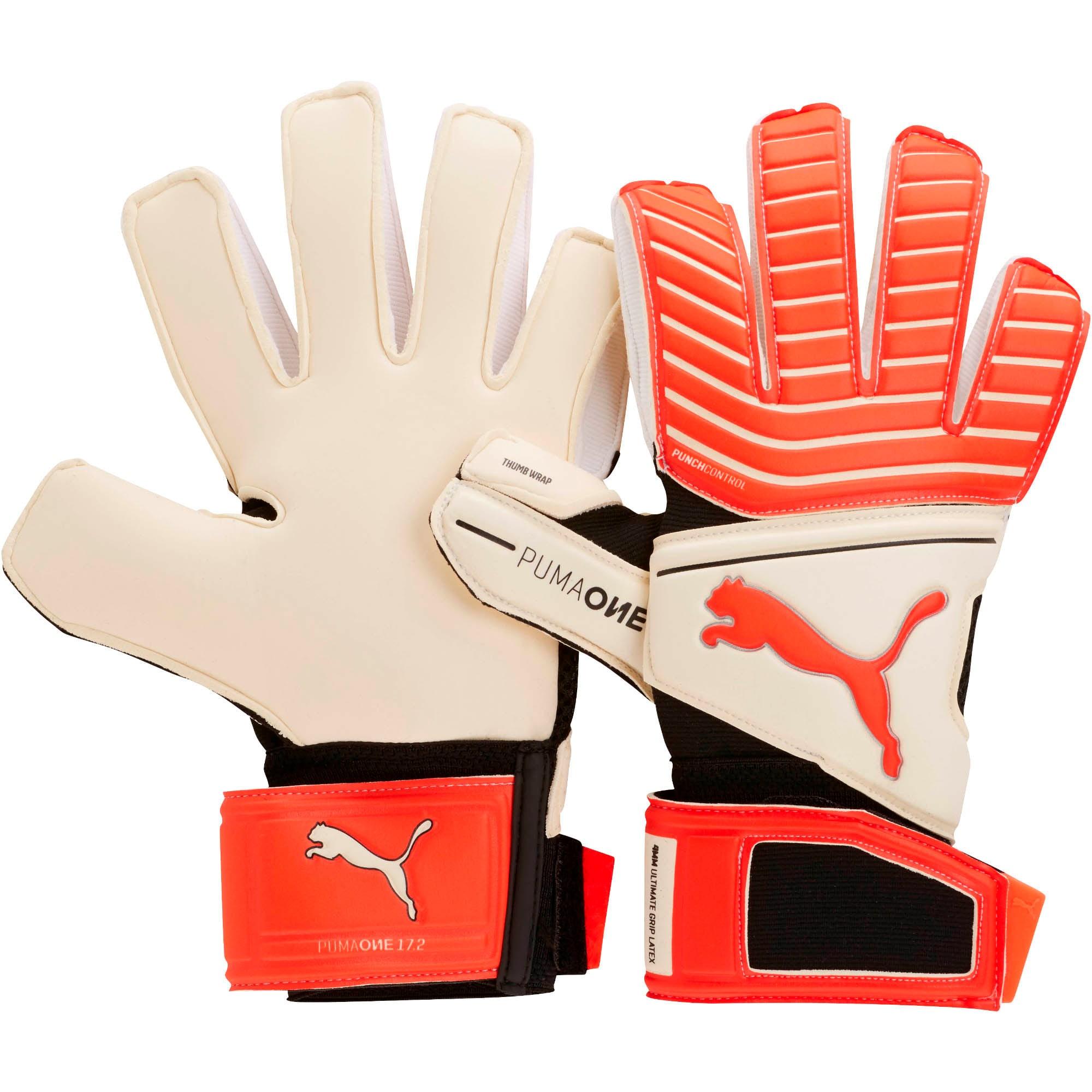 Thumbnail 1 of PUMA ONE Grip 17.2 Goalkeeper Gloves, White-Red Blast-Black-Silver, medium