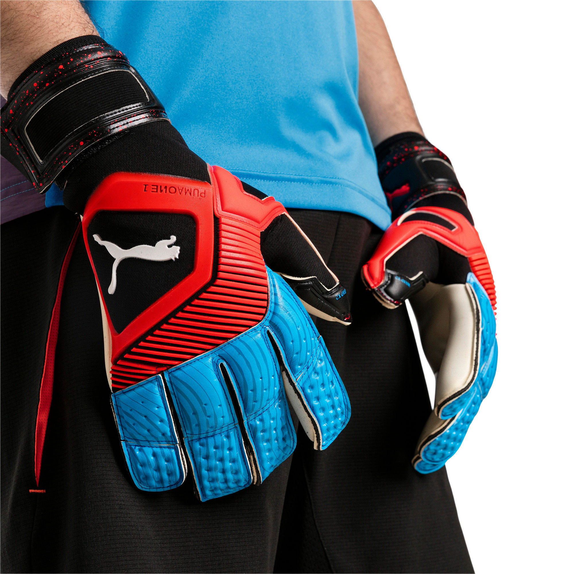 Thumbnail 2 of PUMA ONE Grip 1 Hybrid Pro Goalkeeper Gloves, Black-Bleu Azur-Red Blast, medium