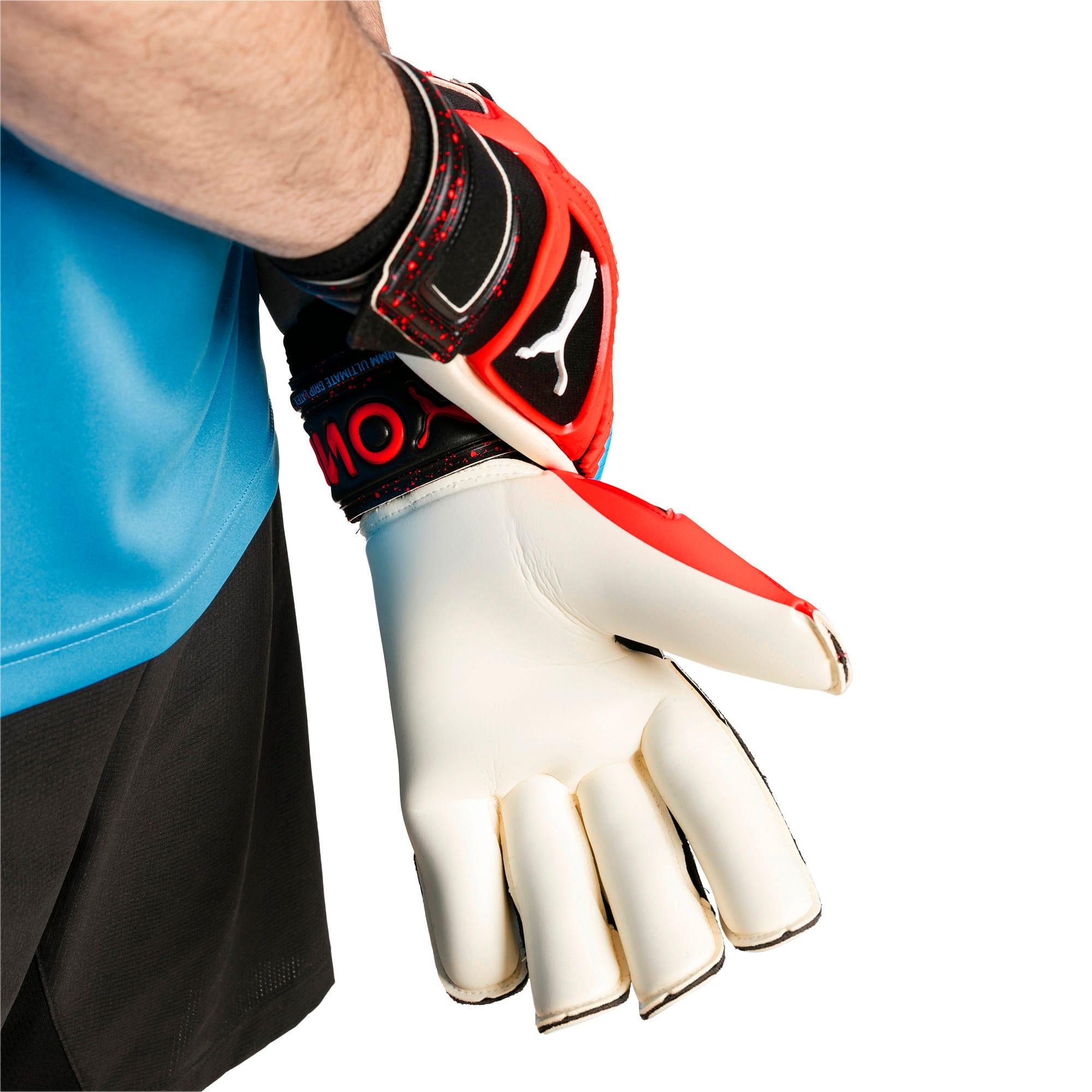 Thumbnail 3 of PUMA ONE Grip 1 Hybrid Pro Goalkeeper Gloves, Black-Bleu Azur-Red Blast, medium
