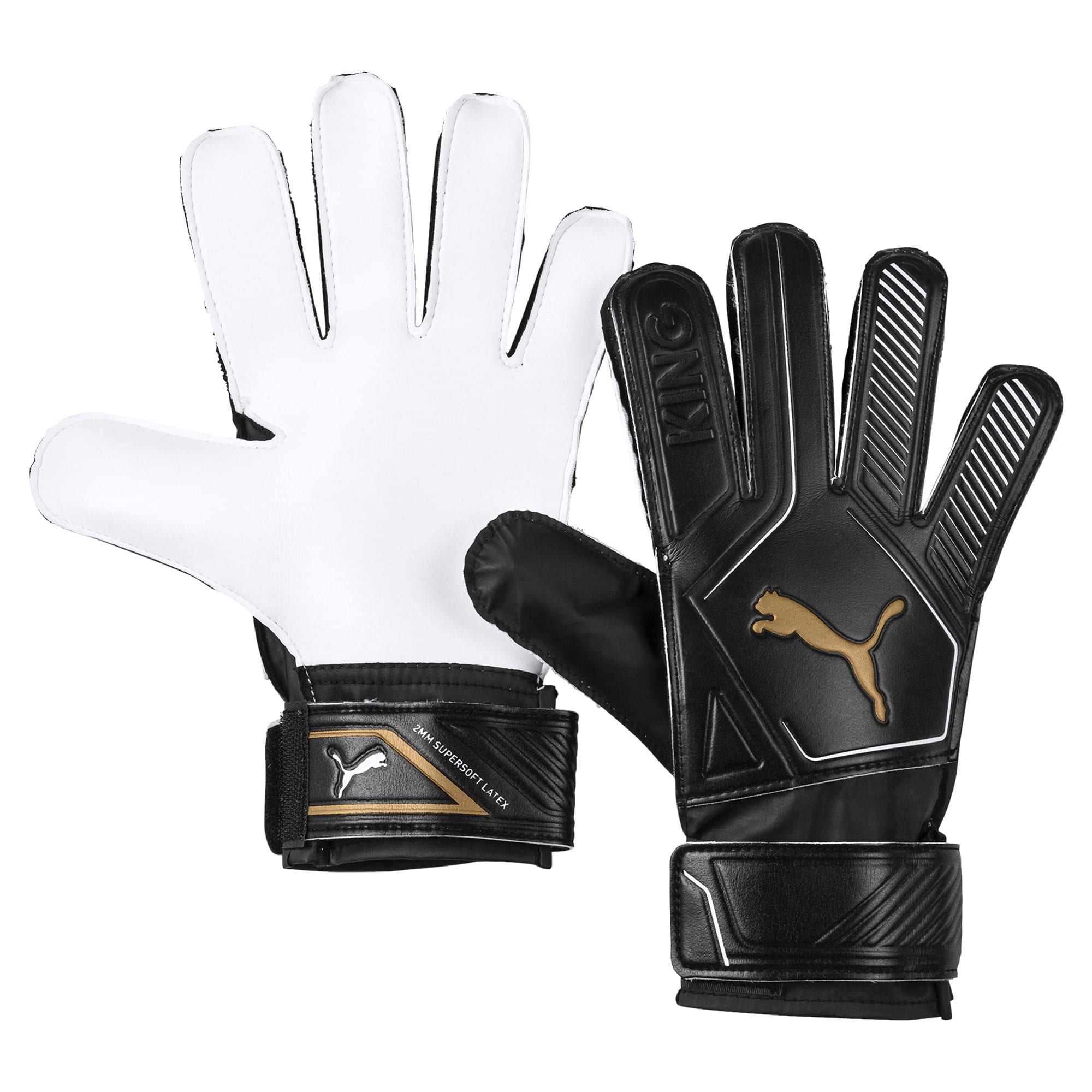 Thumbnail 1 of King 4 Goalkeeper Gloves, Puma Black-Gold-Puma White, medium