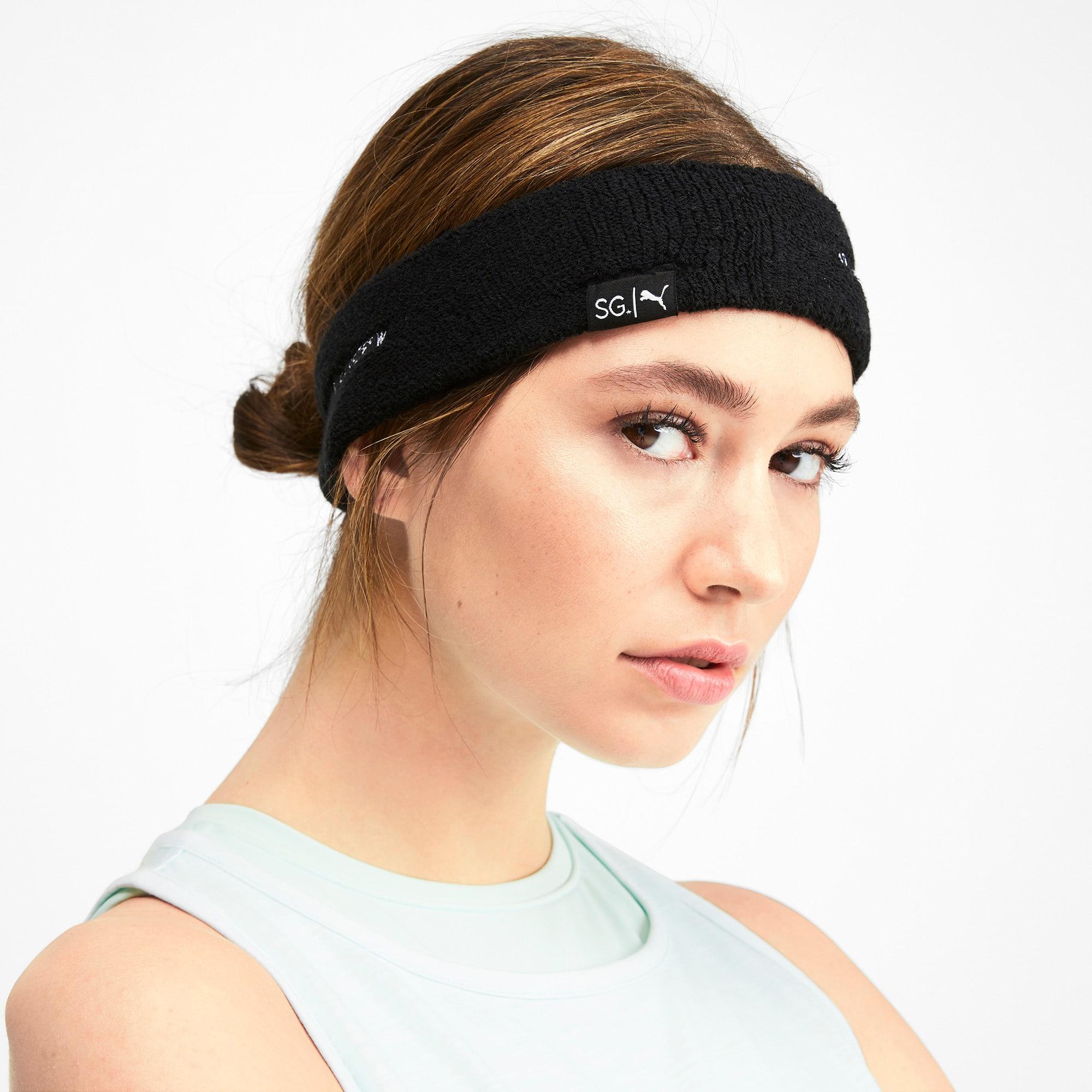 Thumbnail 2 of SG x PUMA Headband, Puma Black-Puma White, medium
