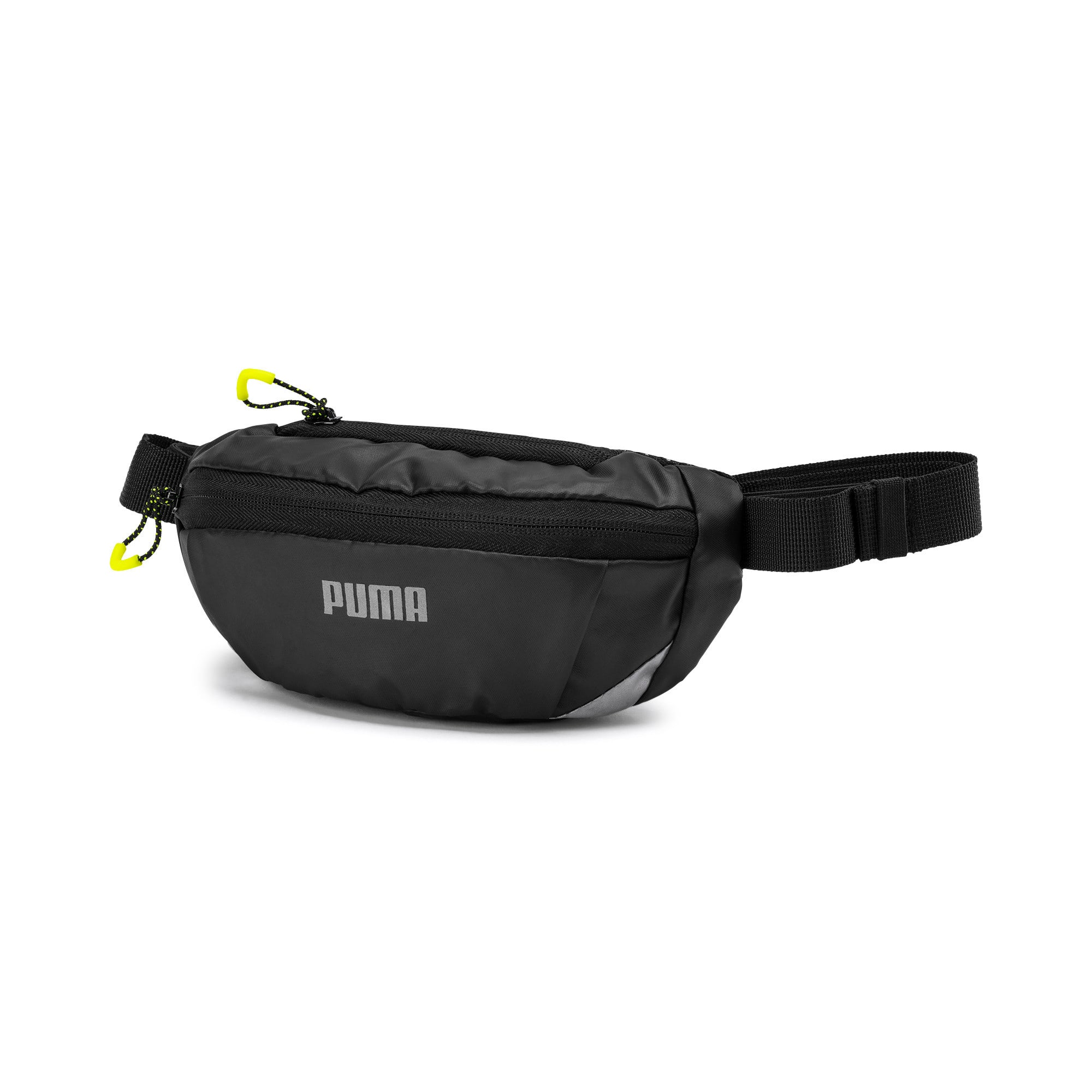 Thumbnail 1 of Classic Running Waist Bag, Puma Black-Yellow Alert, medium