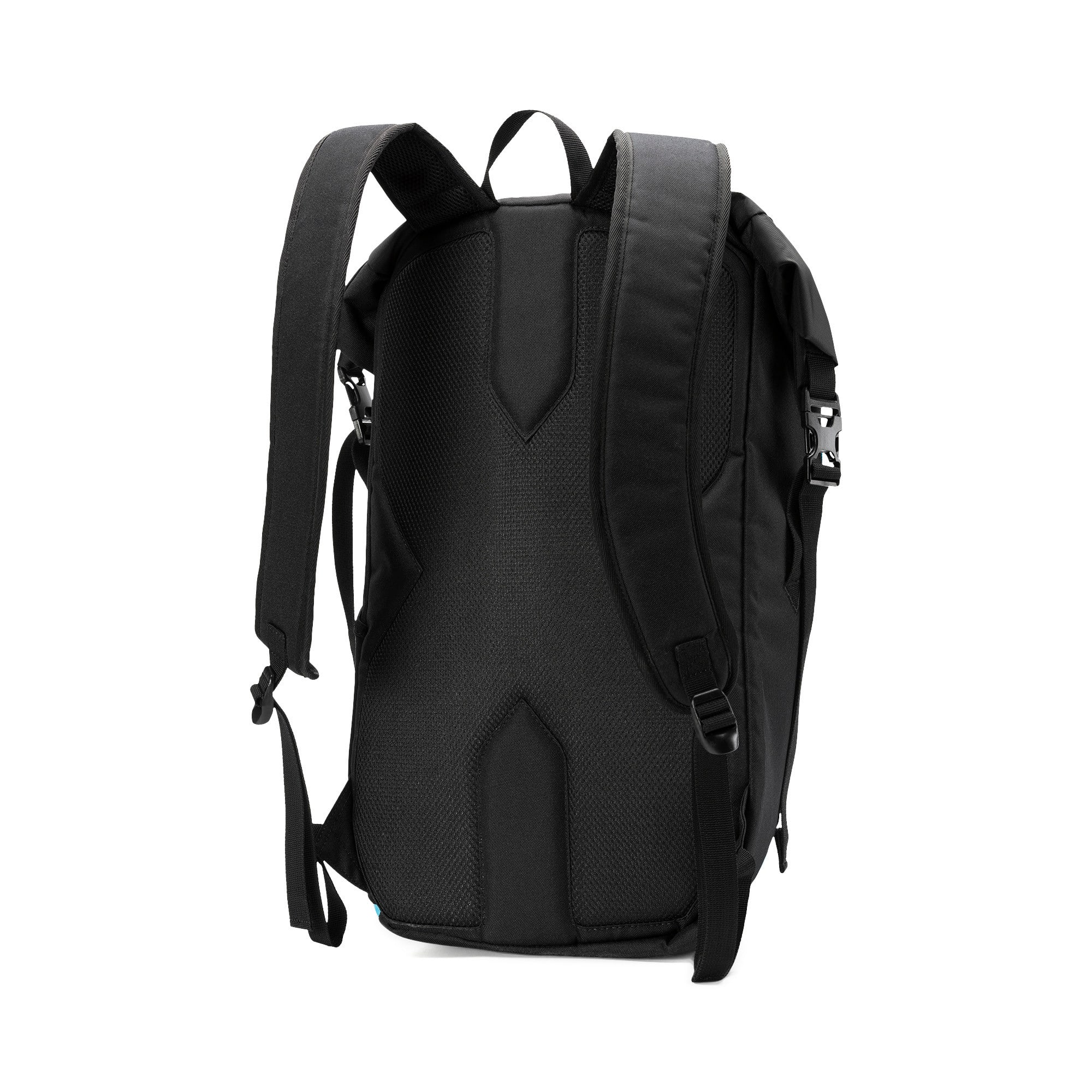 Thumbnail 2 of Olympique de Marseille Football Culture Rolltop Backpack, Puma Black-Bleu Azur-White, medium