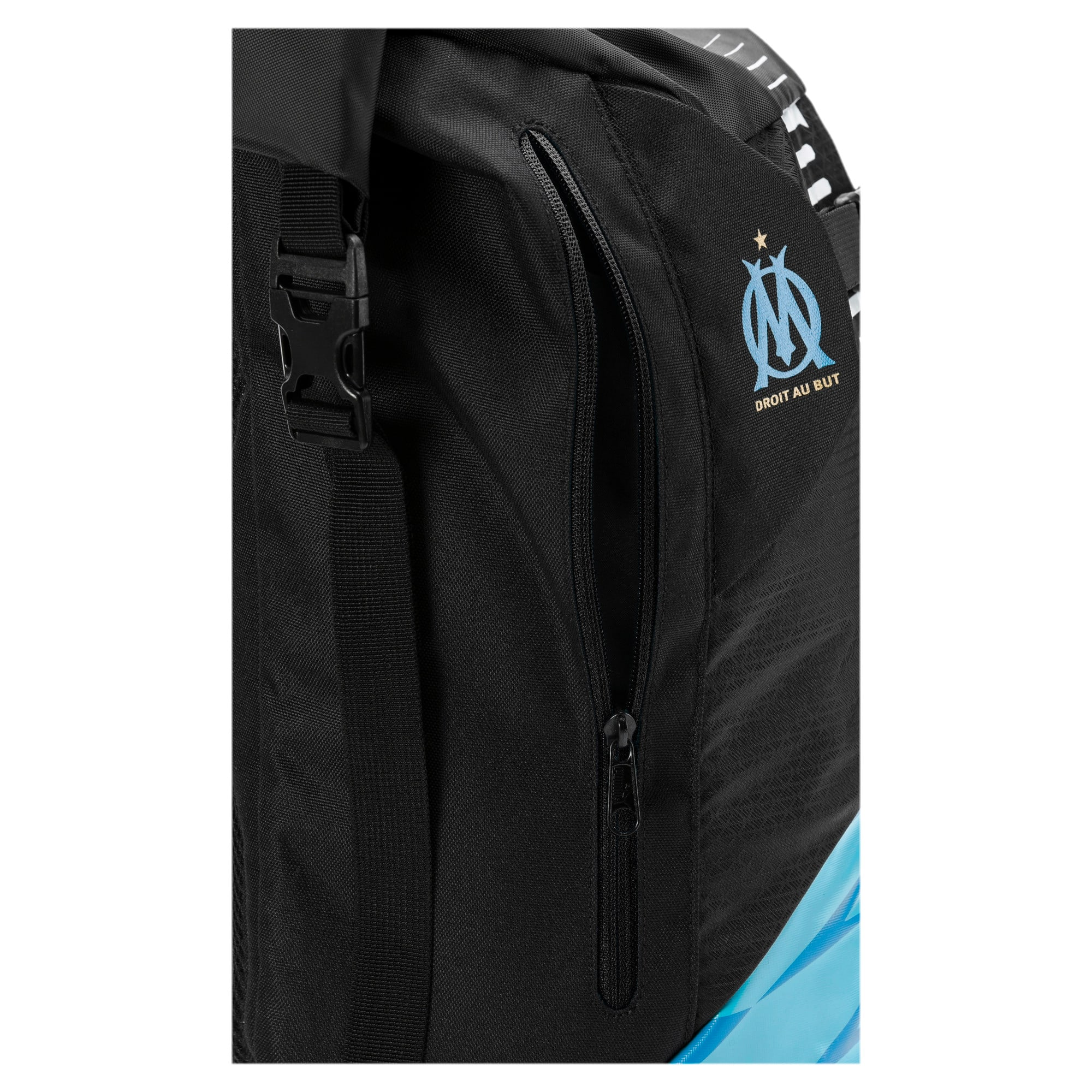 Thumbnail 3 of Olympique de Marseille Football Culture Rolltop Backpack, Puma Black-Bleu Azur-White, medium