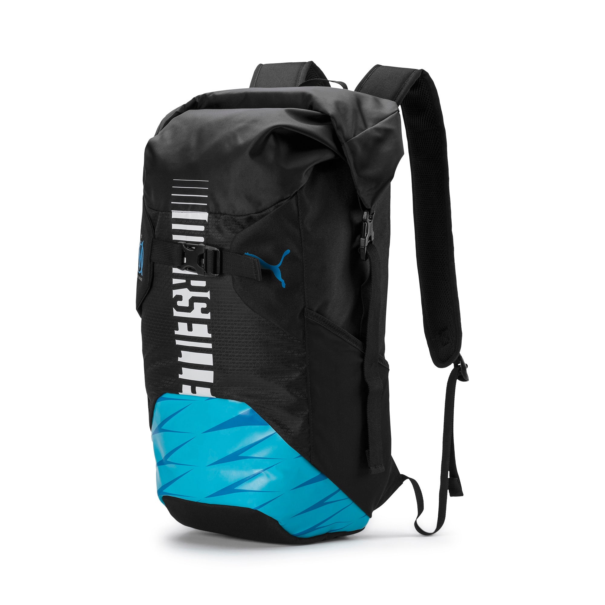 Thumbnail 1 of Olympique de Marseille Football Culture Rolltop Backpack, Puma Black-Bleu Azur-White, medium