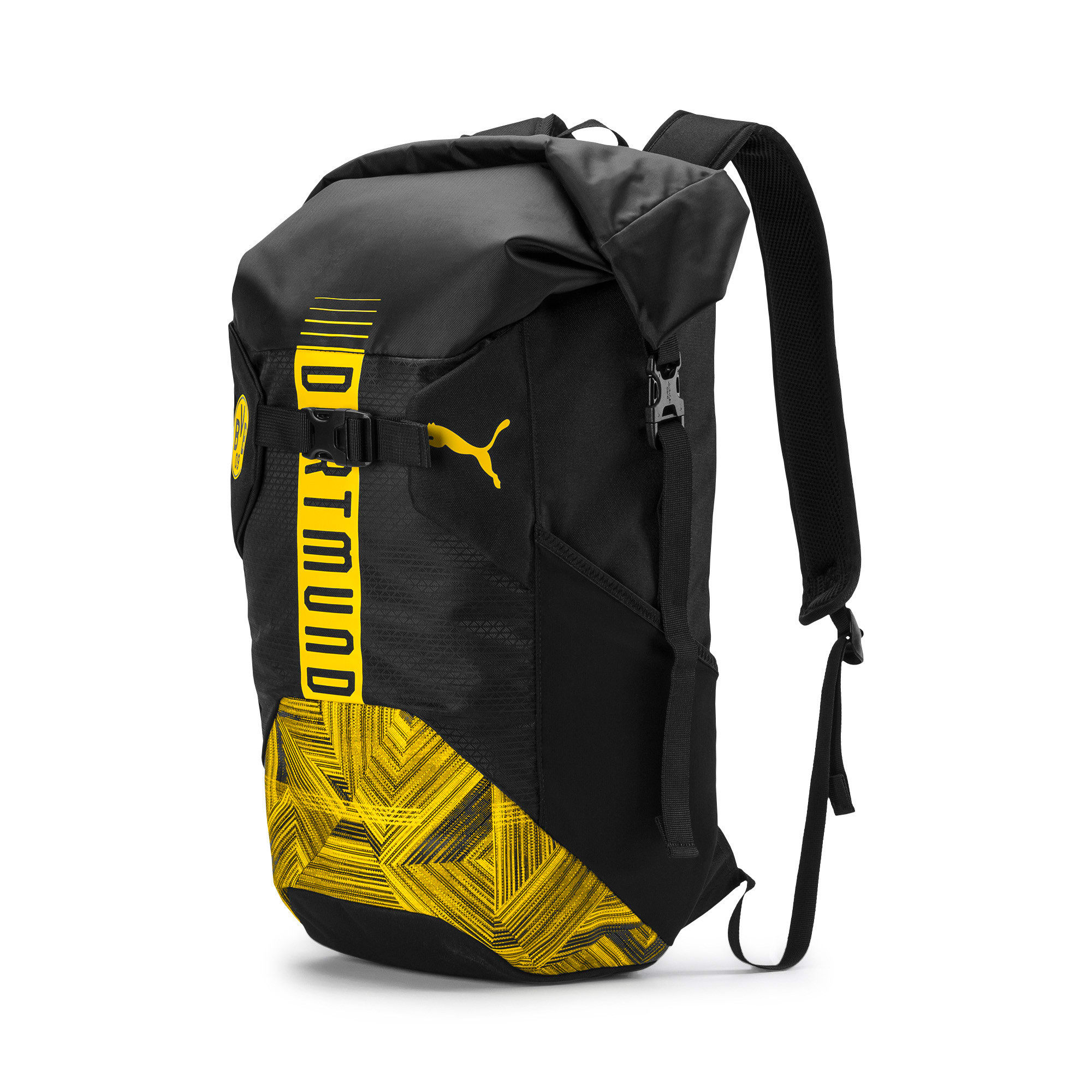 BVB Football Culture Rucksack, Puma Black-Cyber Yellow, large