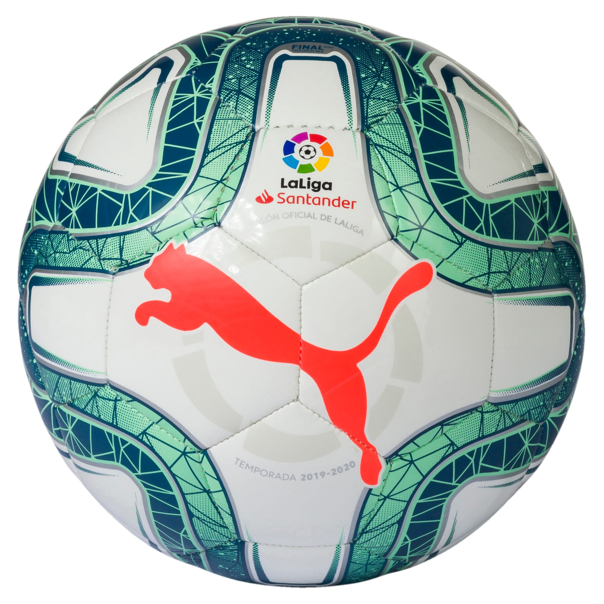 Thumbnail 1 of LaLiga 1 Mini Ball, White-Green Glimmer-Nrgy Red, medium