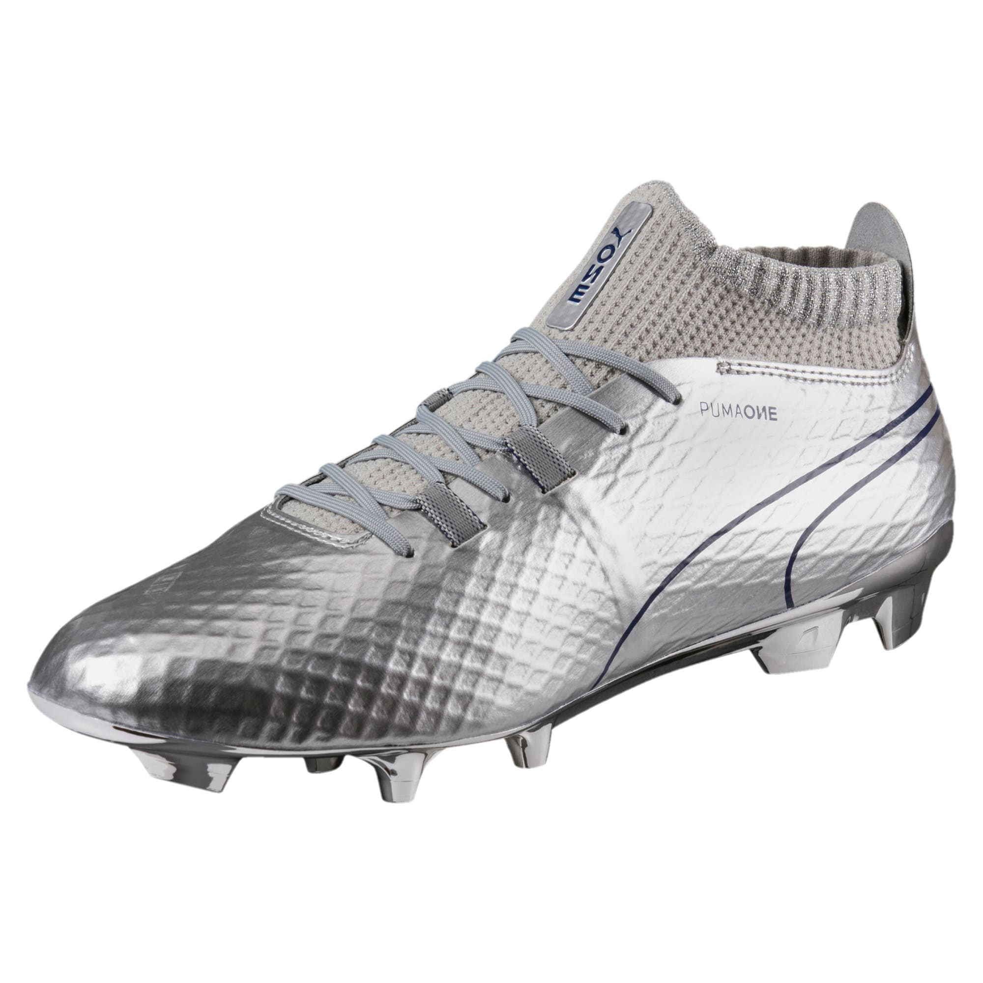 Thumbnail 1 of PUMA ONE Chrome FG Men's Soccer Cleats, Silver-Blue Depths, medium