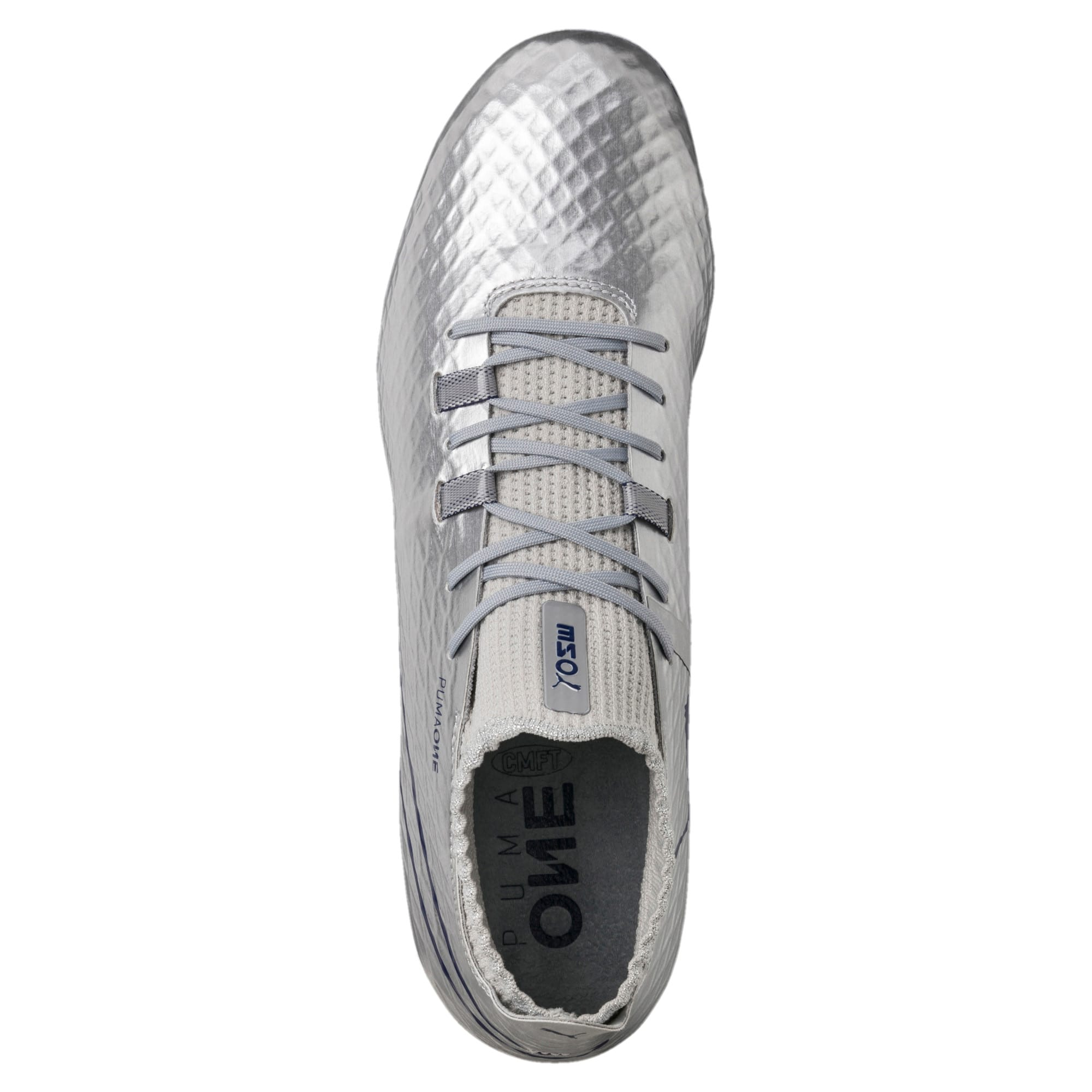 Thumbnail 5 of PUMA ONE Chrome FG Men's Soccer Cleats, Silver-Blue Depths, medium