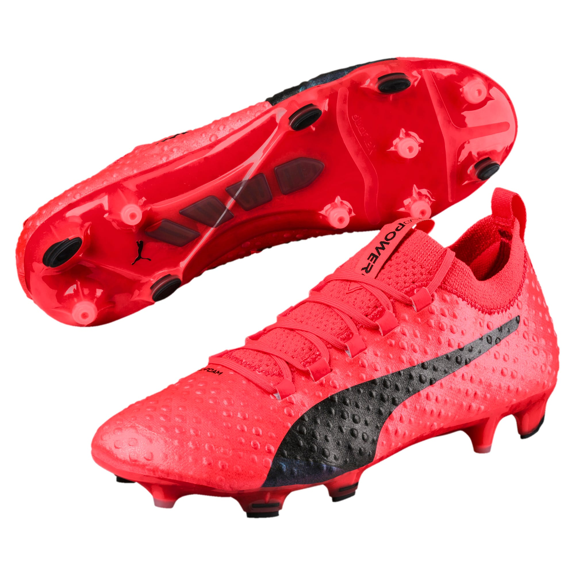 Thumbnail 2 of evoPOWER Vigor 3D 1 FG Men's Firm Ground Soccer Cleats, Coral-Black-Toreador, medium