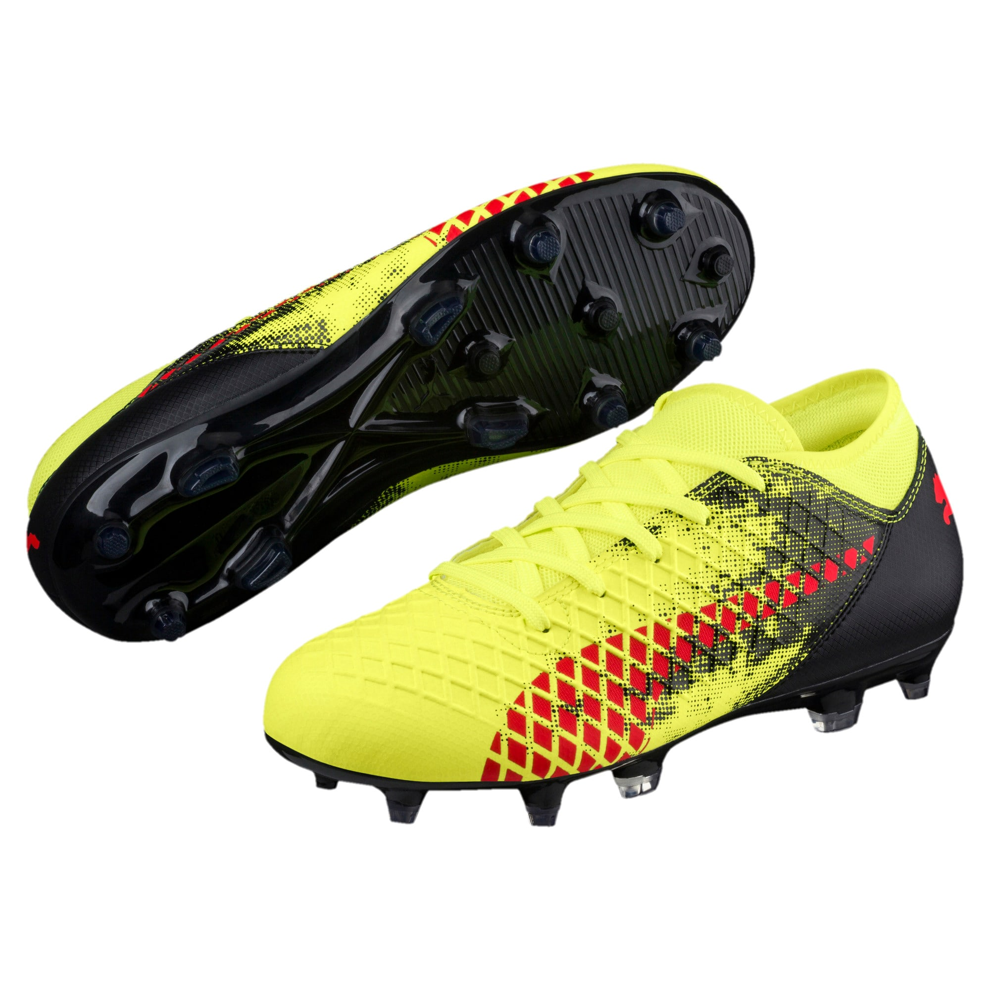 Thumbnail 2 of FUTURE 18.4 FG/AG Soccer Cleats JR, Yellow-Red-Black, medium