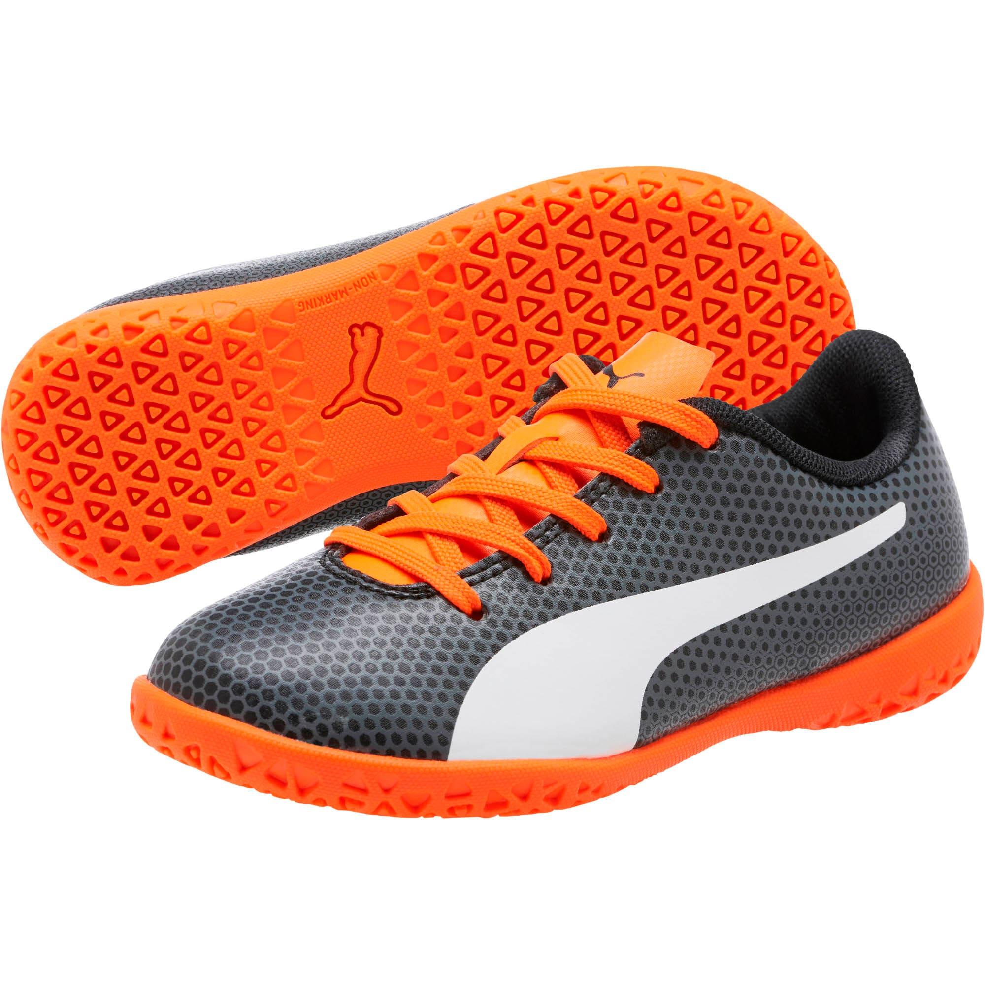 Thumbnail 2 of PUMA Spirit IT Soccer Shoes JR, Black-White-Orange, medium
