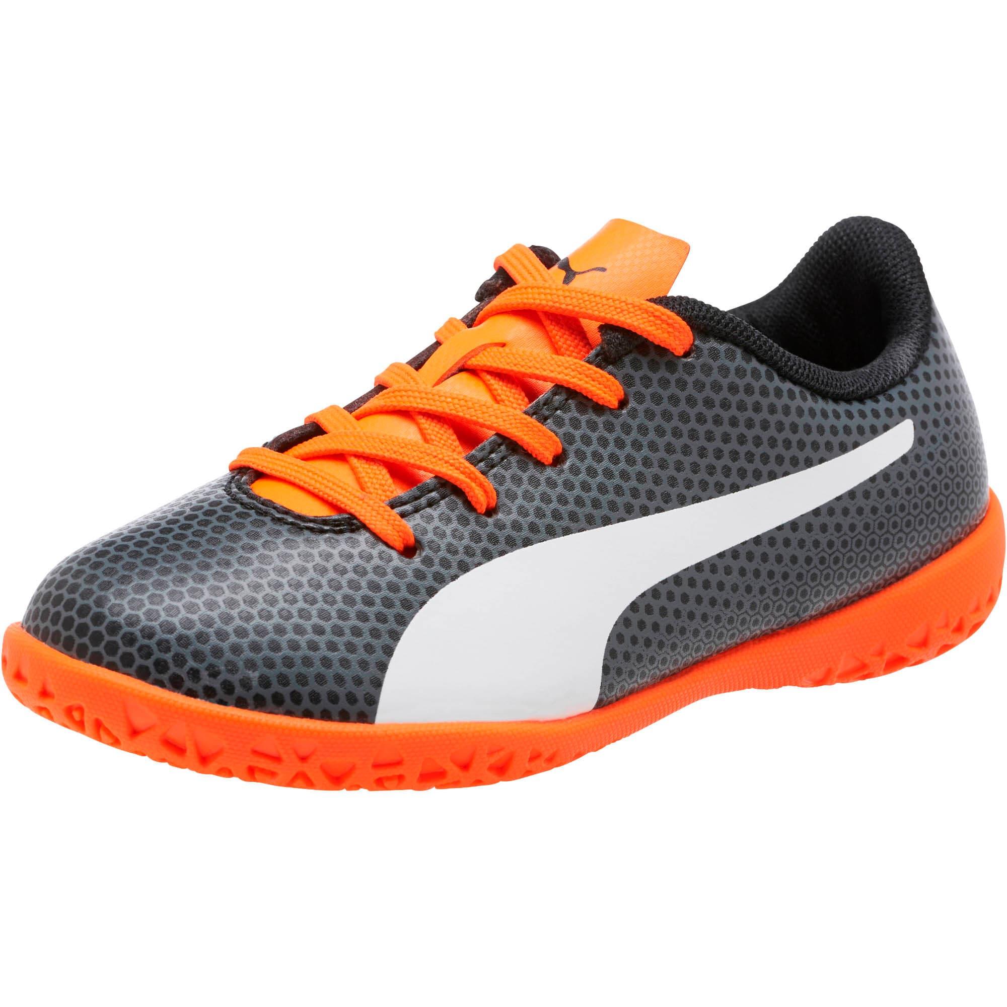 Thumbnail 1 of PUMA Spirit IT Soccer Shoes JR, Black-White-Orange, medium
