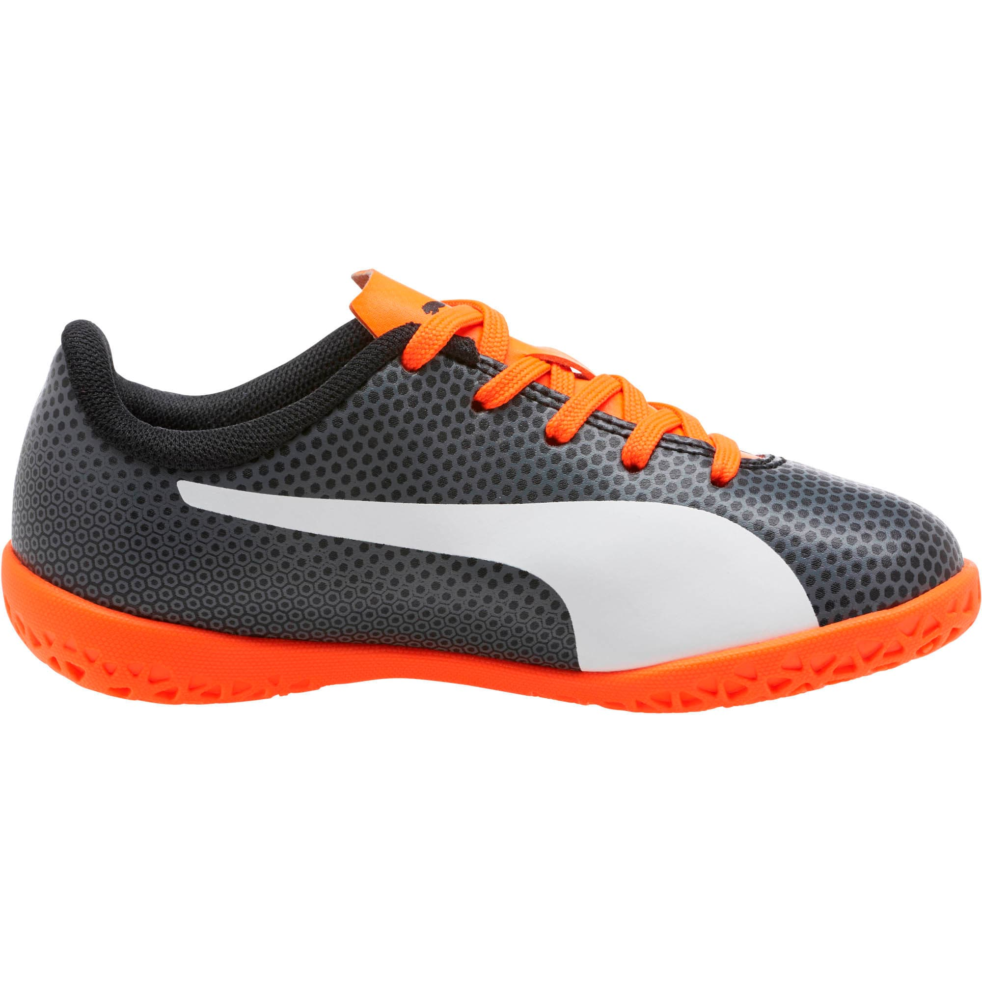 Thumbnail 3 of PUMA Spirit IT Soccer Shoes JR, Black-White-Orange, medium