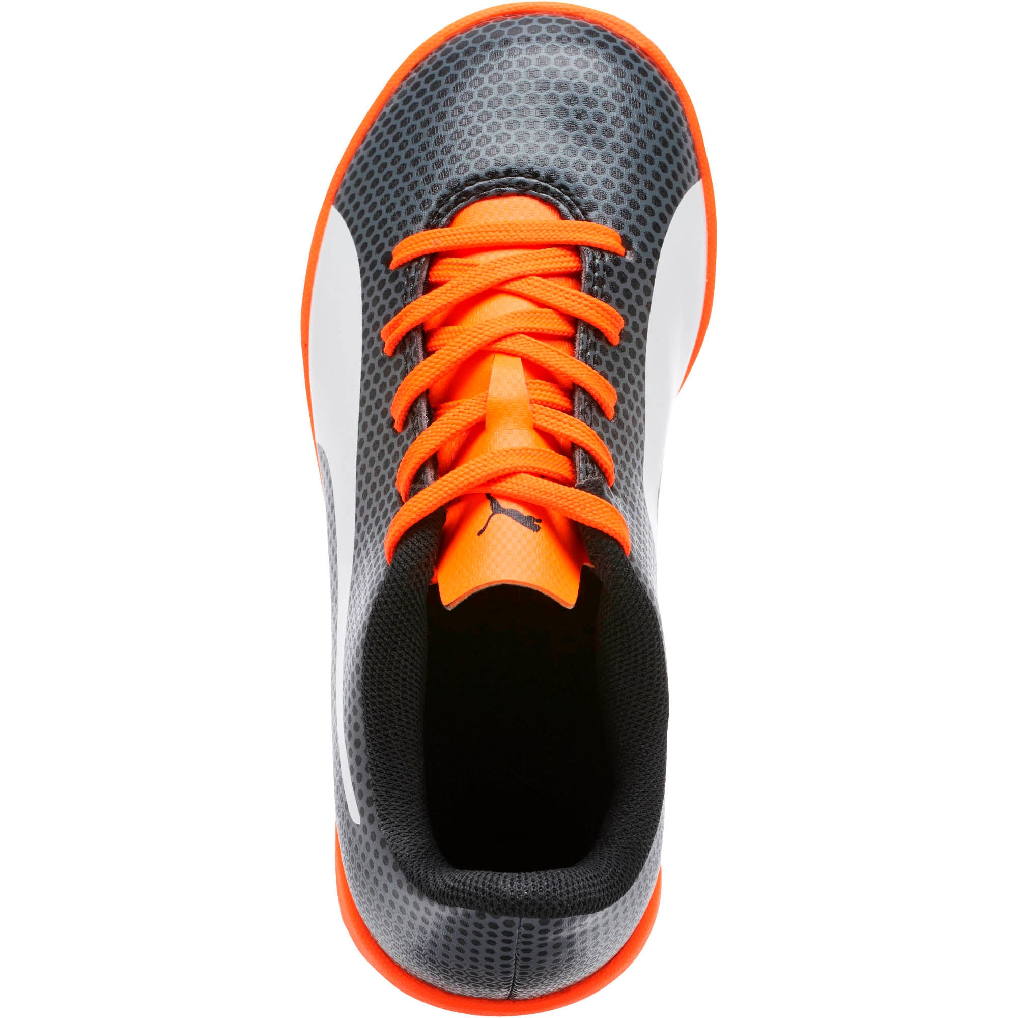 Thumbnail 5 of PUMA Spirit IT Soccer Shoes JR, Black-White-Orange, medium
