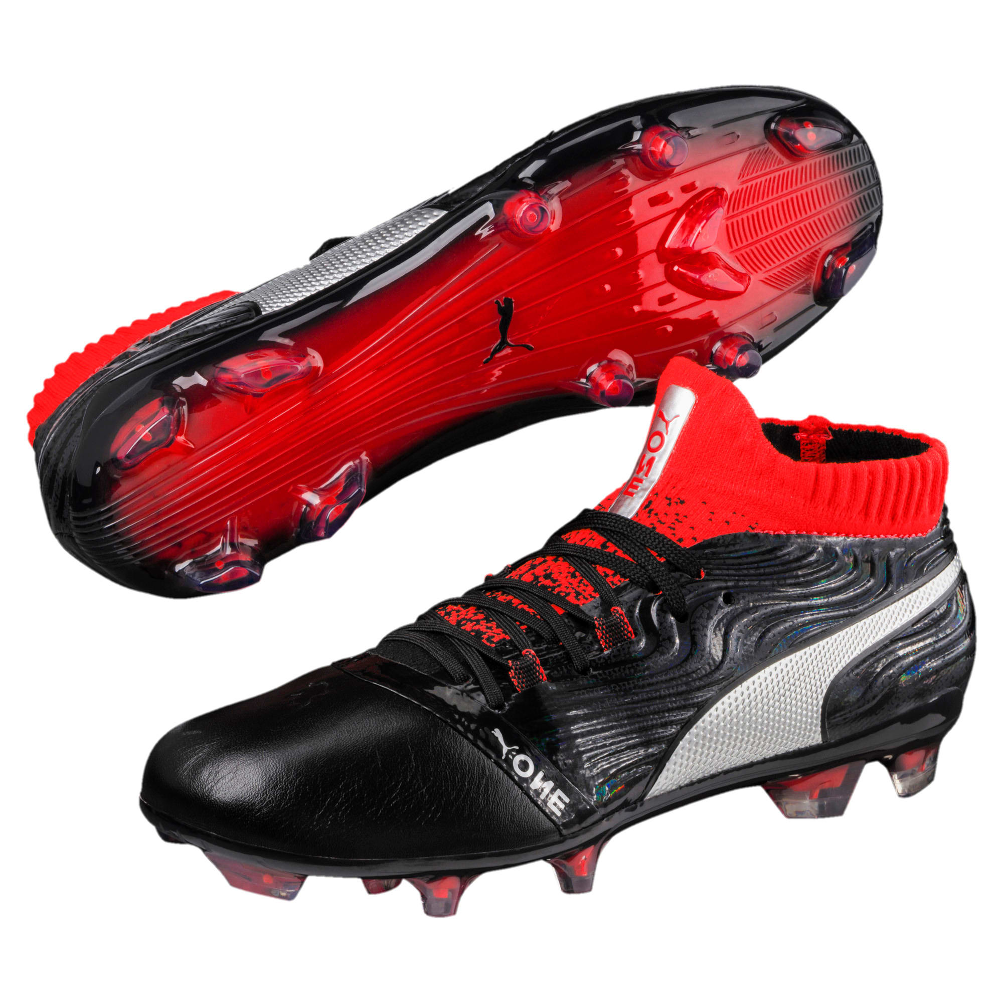 Thumbnail 2 of ONE 18.1 FG Soccer Cleats JR, Black-Silver-Red, medium