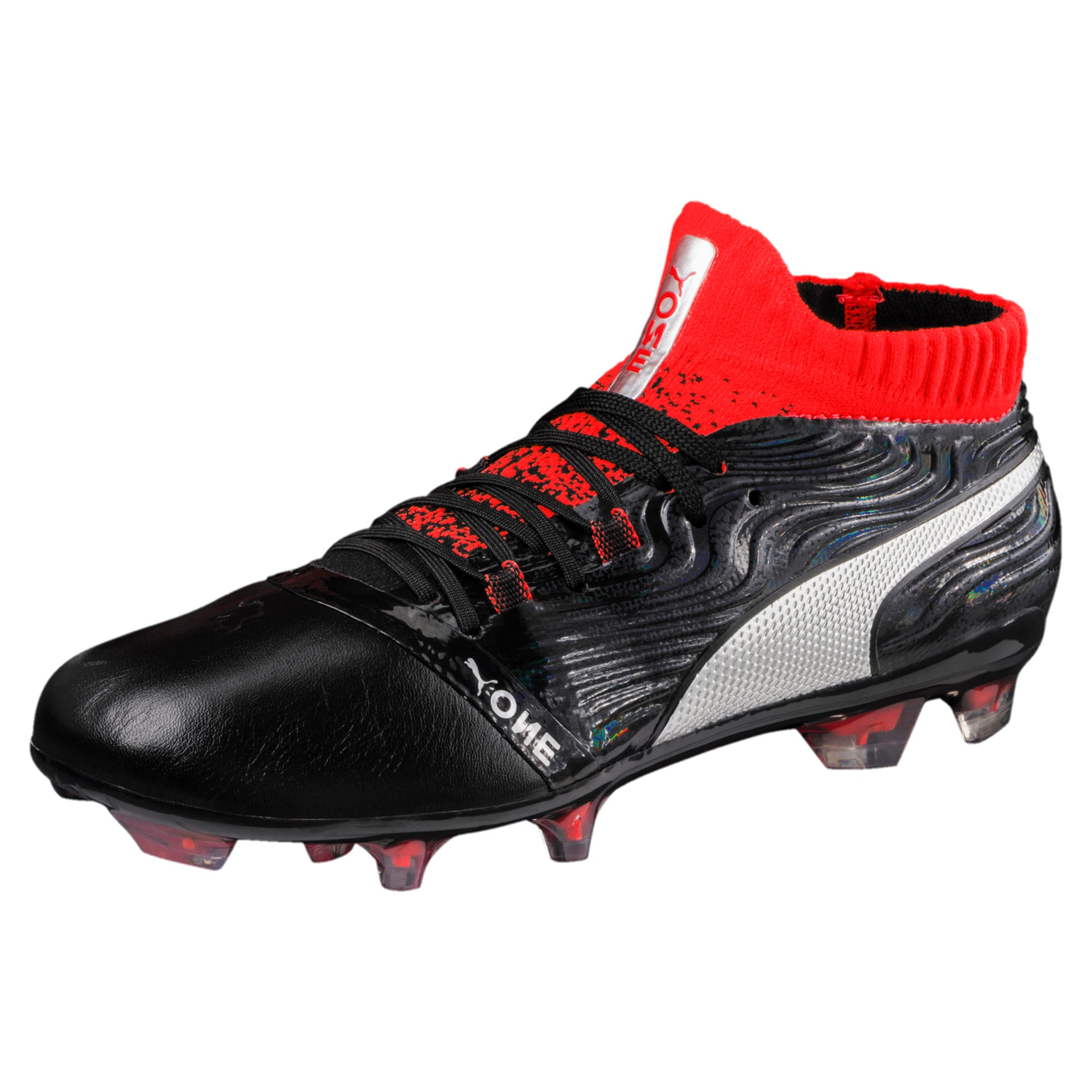 Thumbnail 1 of ONE 18.1 FG Soccer Cleats JR, Black-Silver-Red, medium