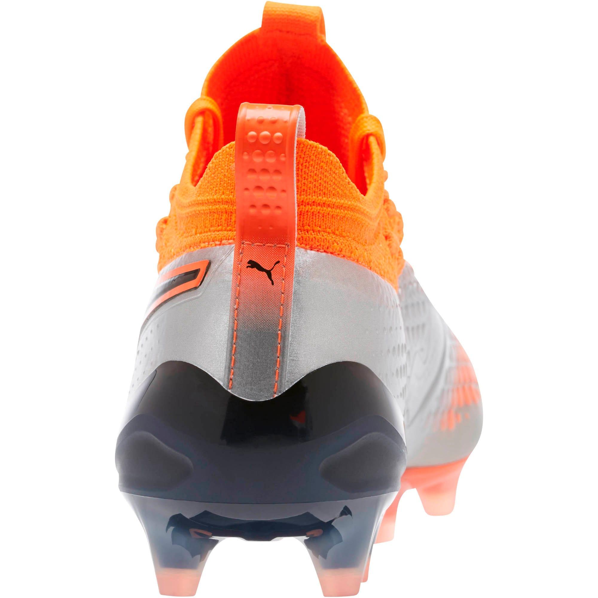 Thumbnail 4 of PUMA ONE 1 FG/AG Men's Soccer Cleats, Silver-Orange-Black, medium