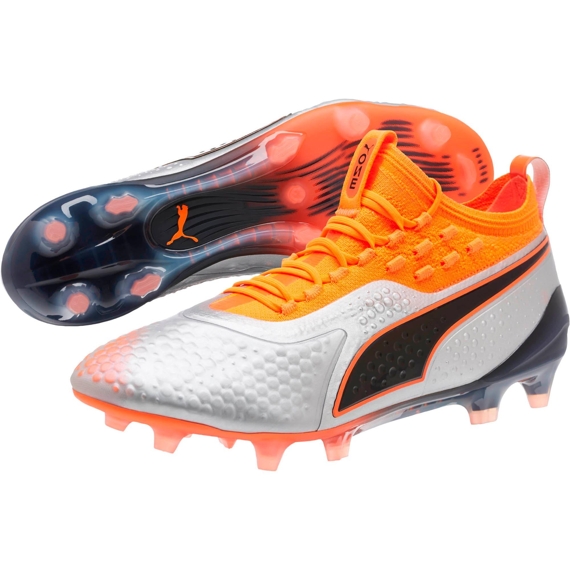 Thumbnail 2 of PUMA ONE 1 FG/AG Men's Soccer Cleats, Silver-Orange-Black, medium